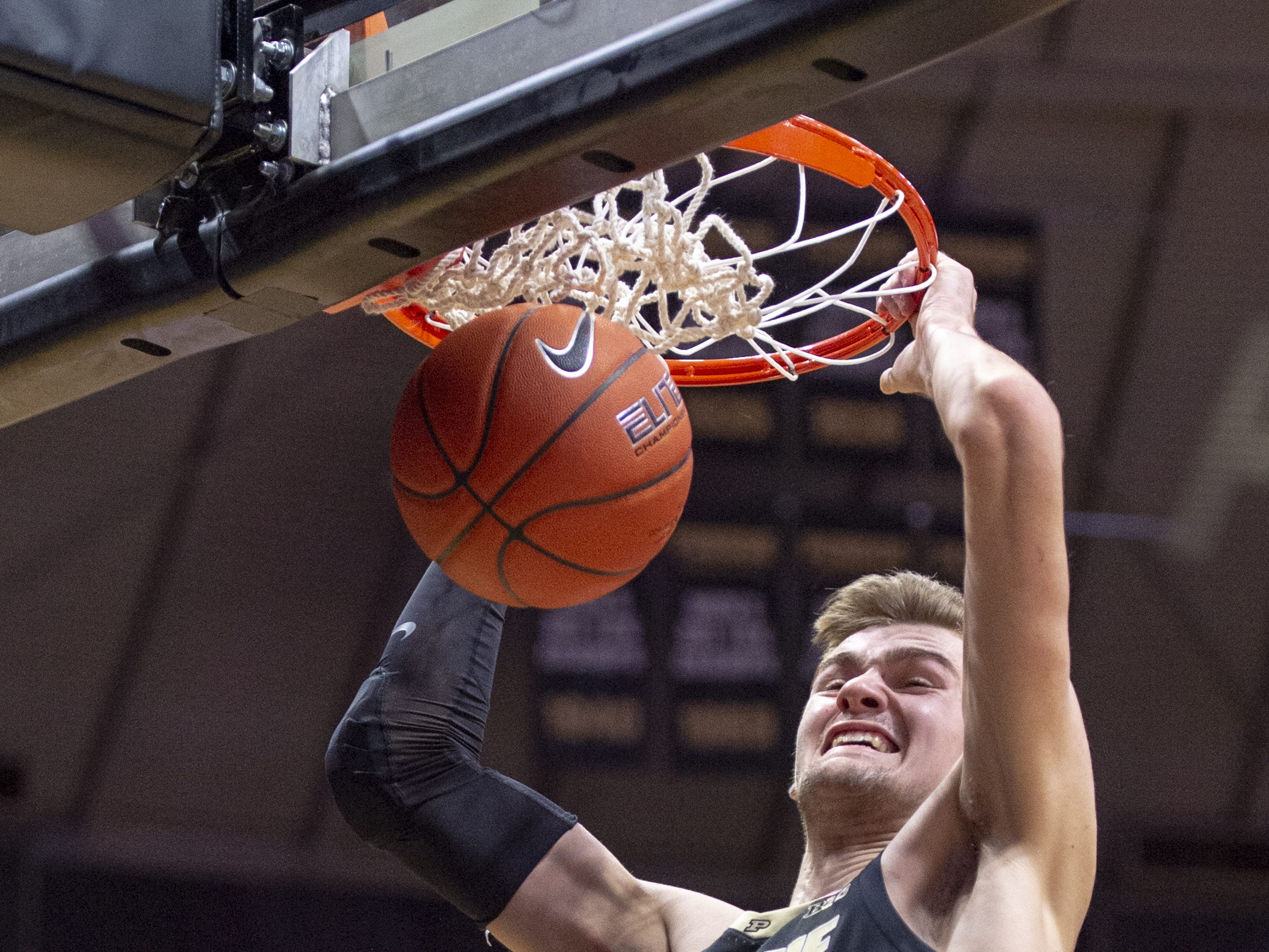 Purdue Boilermakers center Matt Haarms (32) scores with a slam dunk during the second half against Indiana.