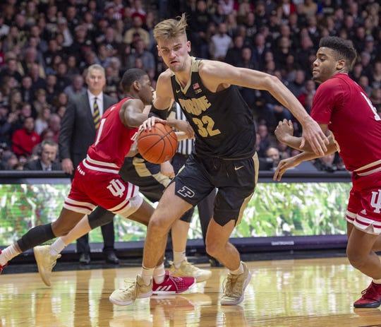 Purdue Boilermakers center Matt Haarms (32) makes a move toward the basket during the second half of action. Purdue hosted Indiana in a BigTen men's basketball matchup, Saturday, Jan. 19, 2019. Purdue won 70-55.