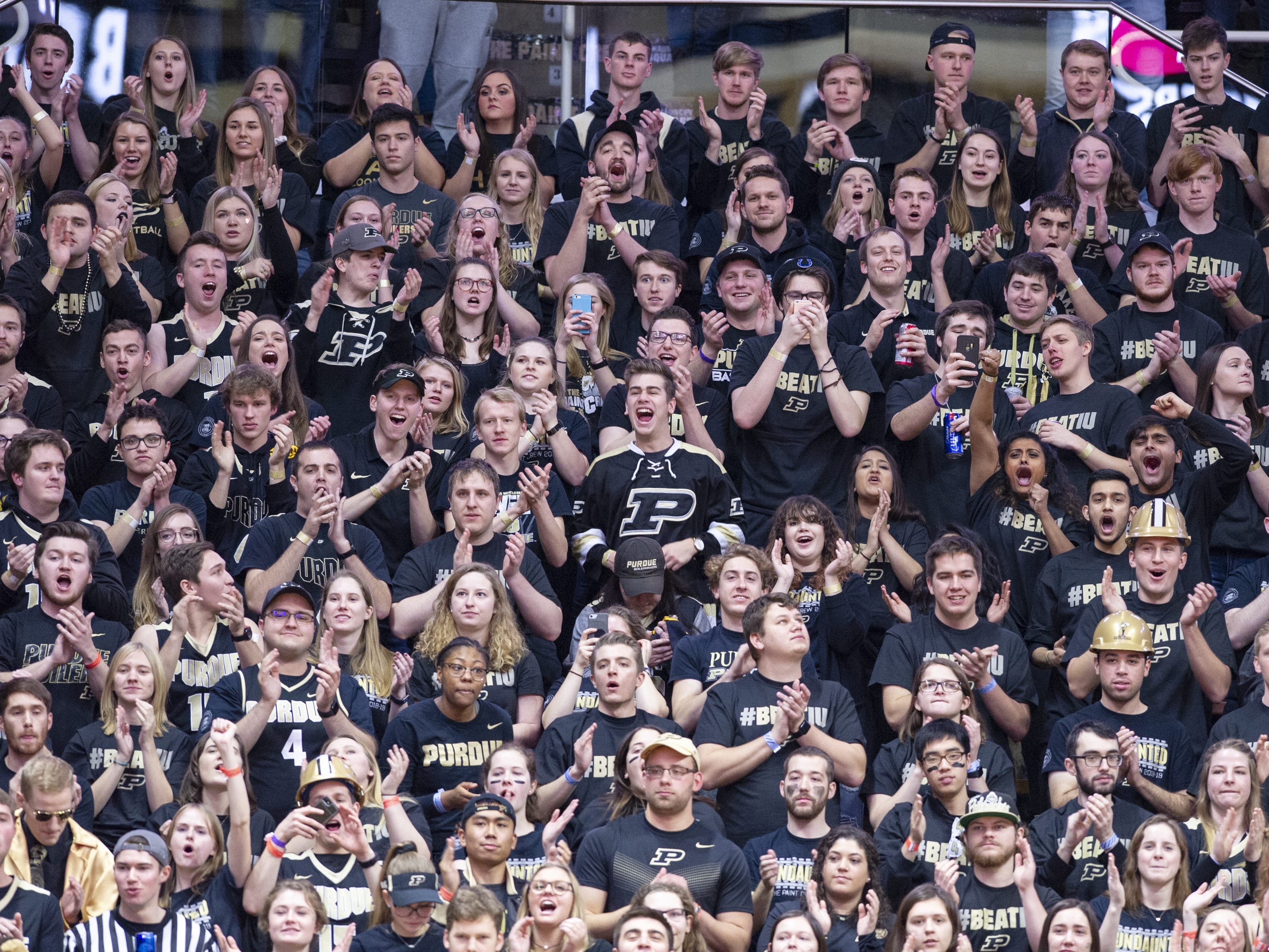 Purdue fans cheer before the first half of action. Purdue hosted Indiana in a BigTen men's basketball matchup, Saturday, Jan. 19, 2019.