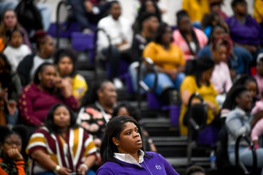 Haywood head coach Patrice Boyd watches her team from the sideline at a TSSAA girls basketball game between Haywood and Bolivar at Haywood High School in Brownsville, Tenn., on Friday, Jan. 18, 2019.