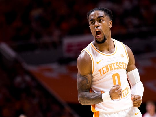 Tennessee guard Jordan Bone (0) celebrates during the second half of Tennessee's home SEC conference game against Alabama at Thompson-Boling Arena in Knoxville on Saturday, January 19, 2019.