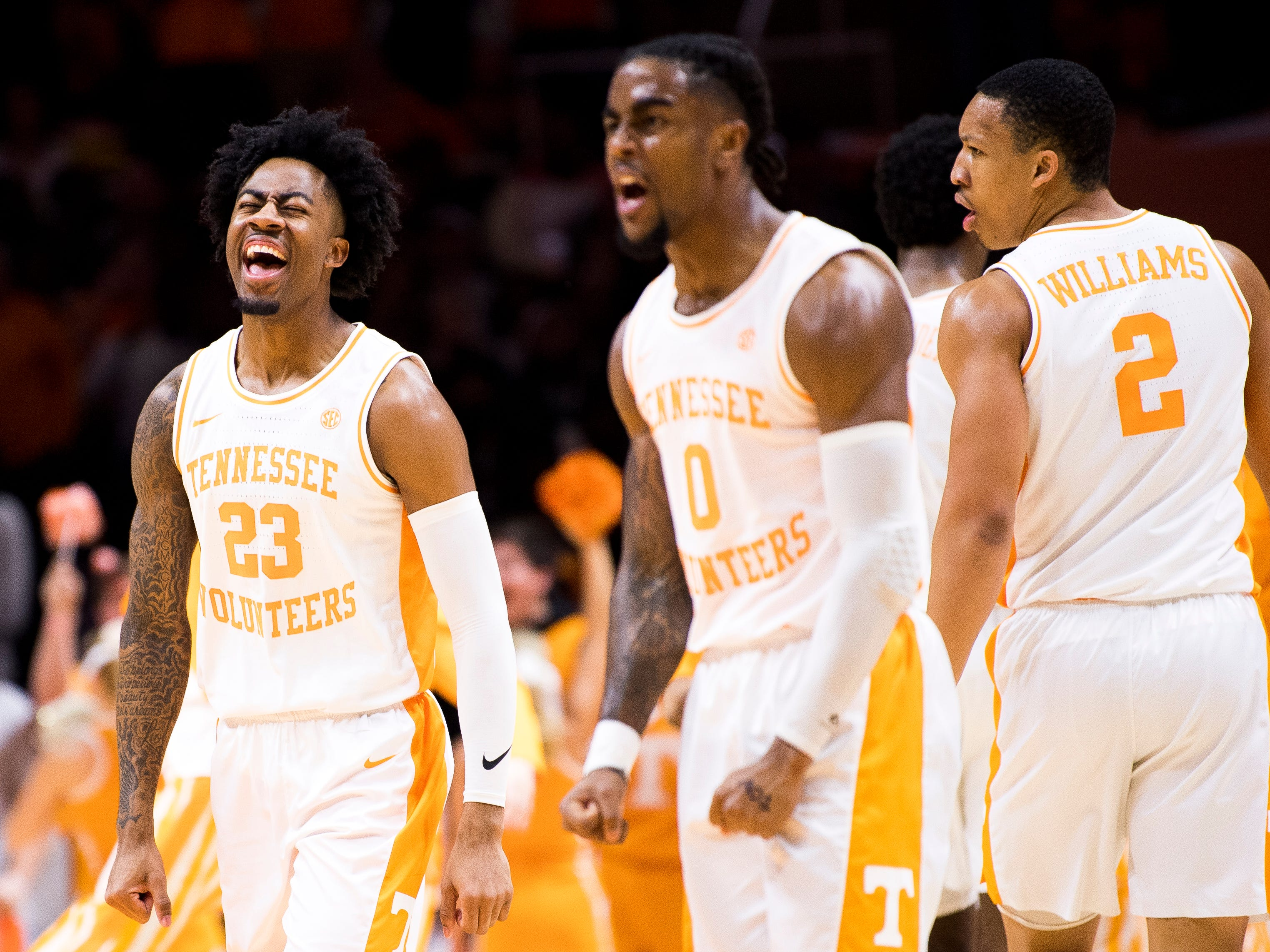 Tennessee guard Jordan Bowden (23) celebrates a Tennessee guard/forward Yves Pons (35) dunk during the first half of Tennessee's home SEC conference game against Alabama at Thompson-Boling Arena in Knoxville on Saturday, January 19, 2019.