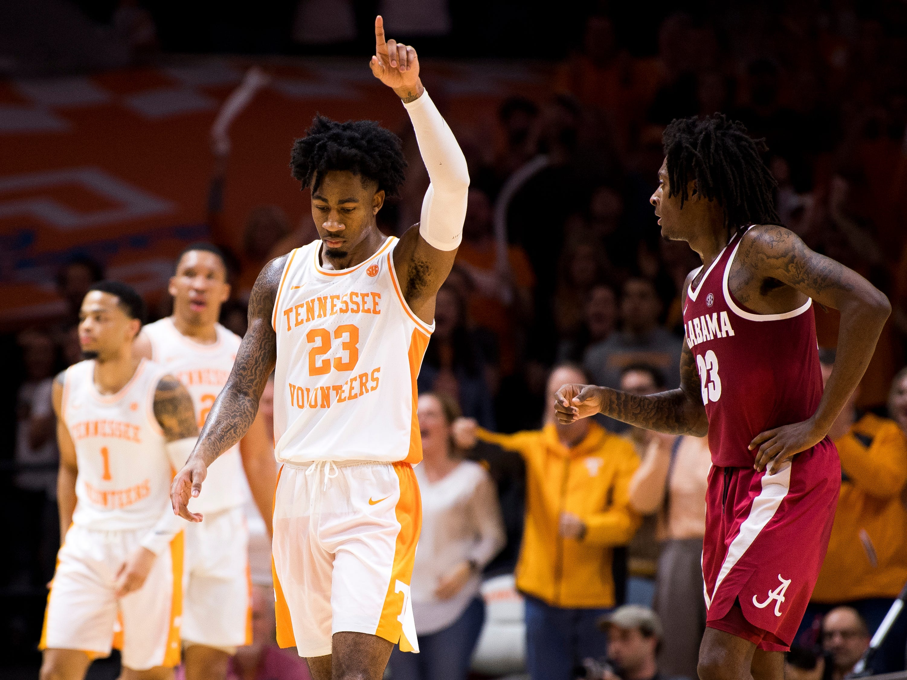 Tennessee guard Jordan Bowden (23) celebrates a call during the second half of Tennessee's home SEC conference game against Alabama at Thompson-Boling Arena in Knoxville on Saturday, January 19, 2019.