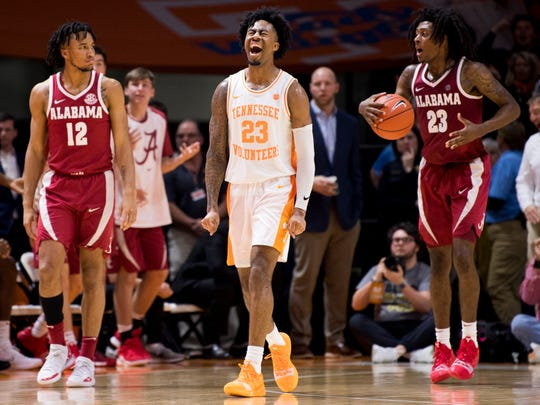 Tennessee guard Jordan Bowden (23) celebrates a foul called against Alabama in the last seconds of the second half of Tennessee's home SEC conference game against Alabama at Thompson-Boling Arena in Knoxville on Saturday, January 19, 2019.