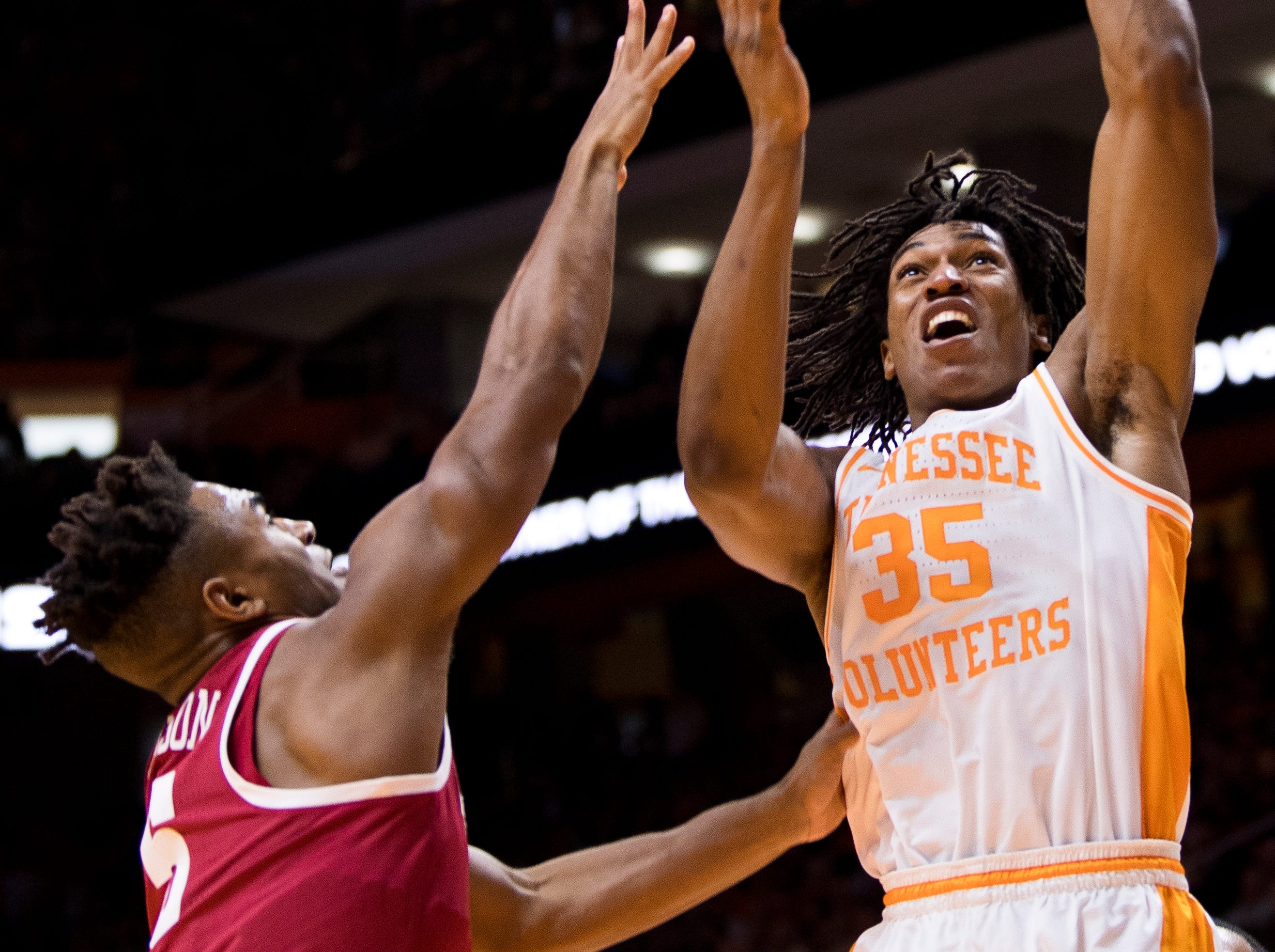 Tennessee guard/forward Yves Pons (35) attempts a shot during the first half of Tennessee's home SEC conference game against Alabama at Thompson-Boling Arena in Knoxville on Saturday, January 19, 2019.