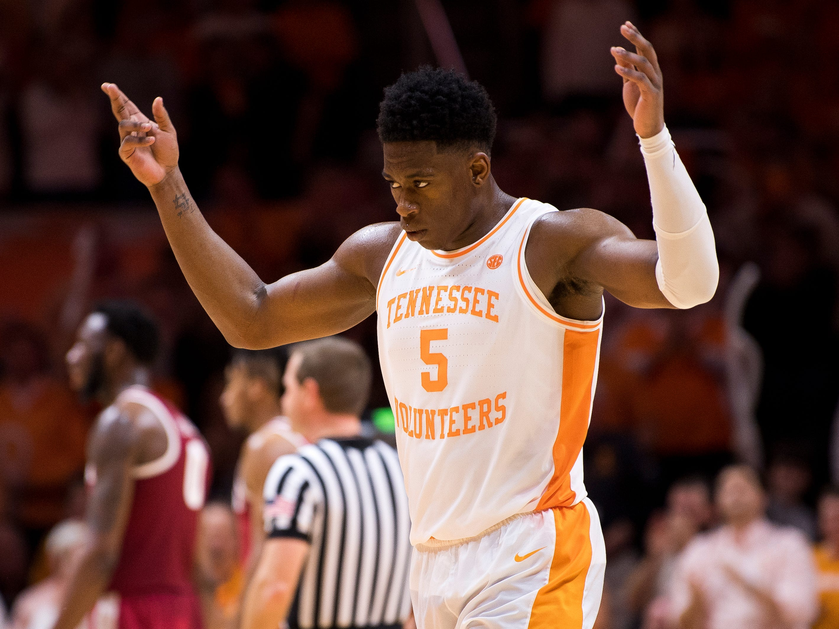 Tennessee guard Admiral Schofield (5) celebrates a call during the second half of Tennessee's home SEC conference game against Alabama at Thompson-Boling Arena in Knoxville on Saturday, January 19, 2019.