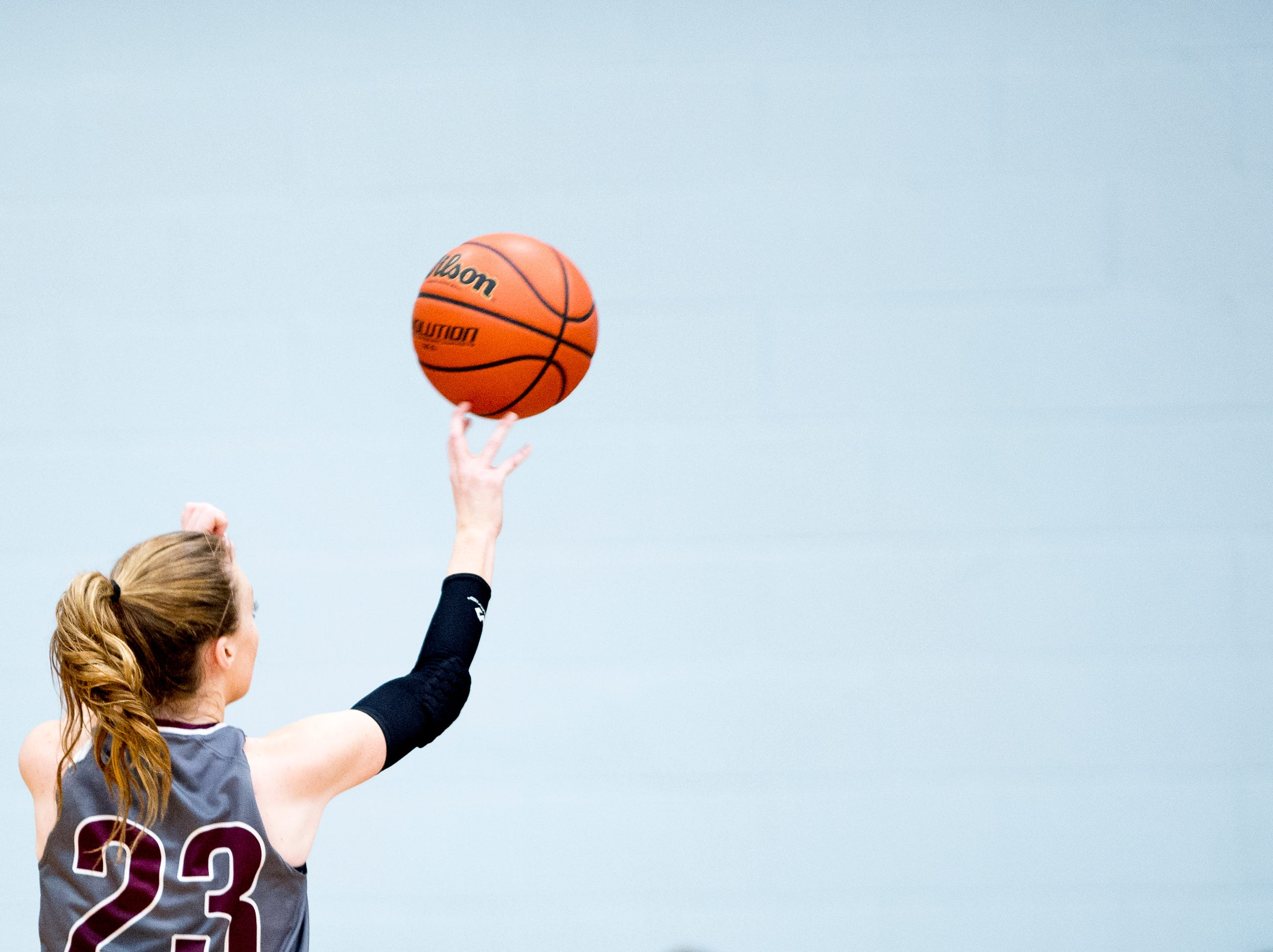 Alcoa's Destiny Haworth (23) shoots the ball during a game between Austin-East and Alcoa at Austin-East High School in Knoxville, Tennessee on Friday, January 18, 2019.