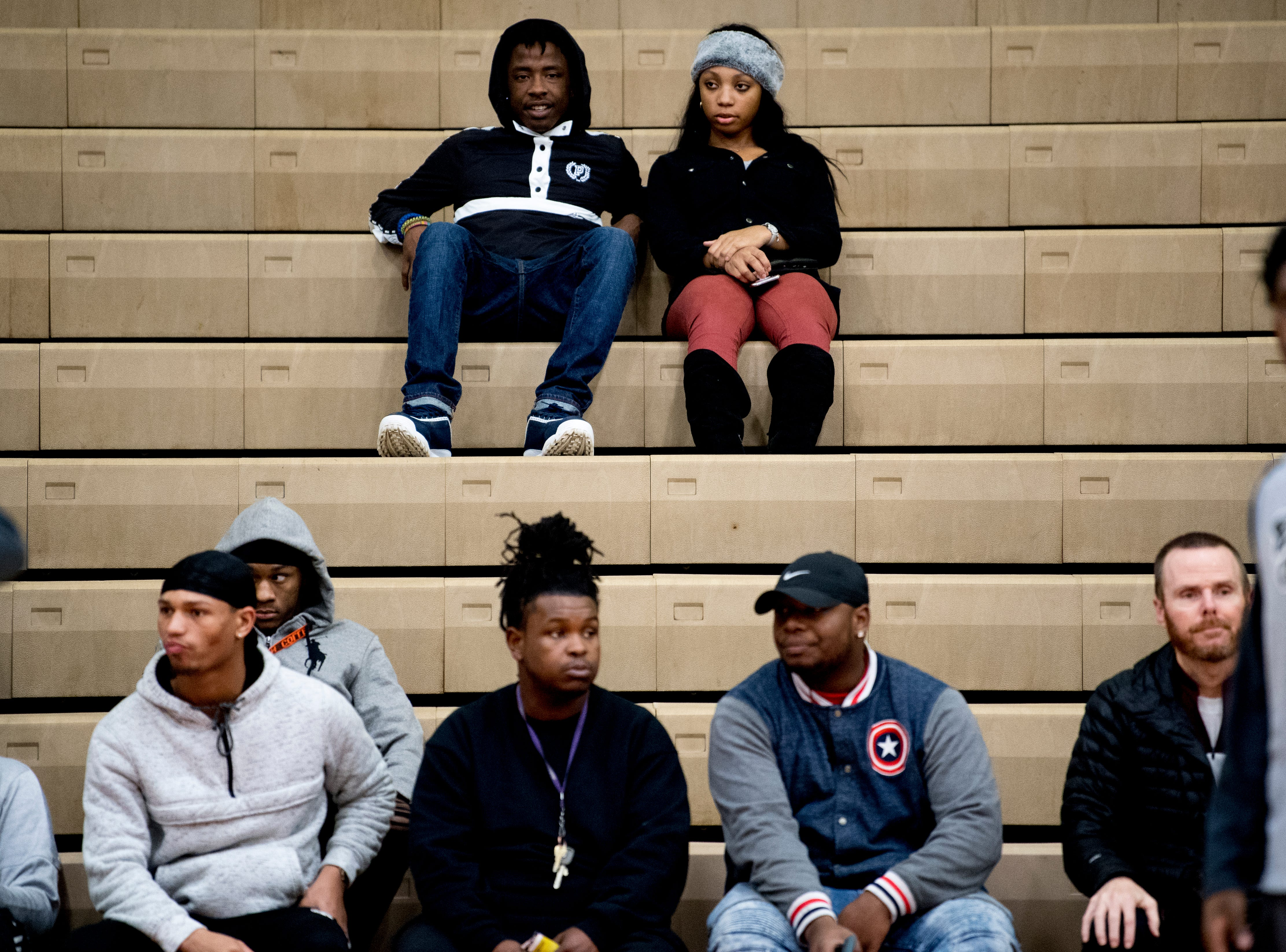 Fans watch from the stands during a game between Austin-East and Alcoa at Austin-East High School in Knoxville, Tennessee on Friday, January 18, 2019.