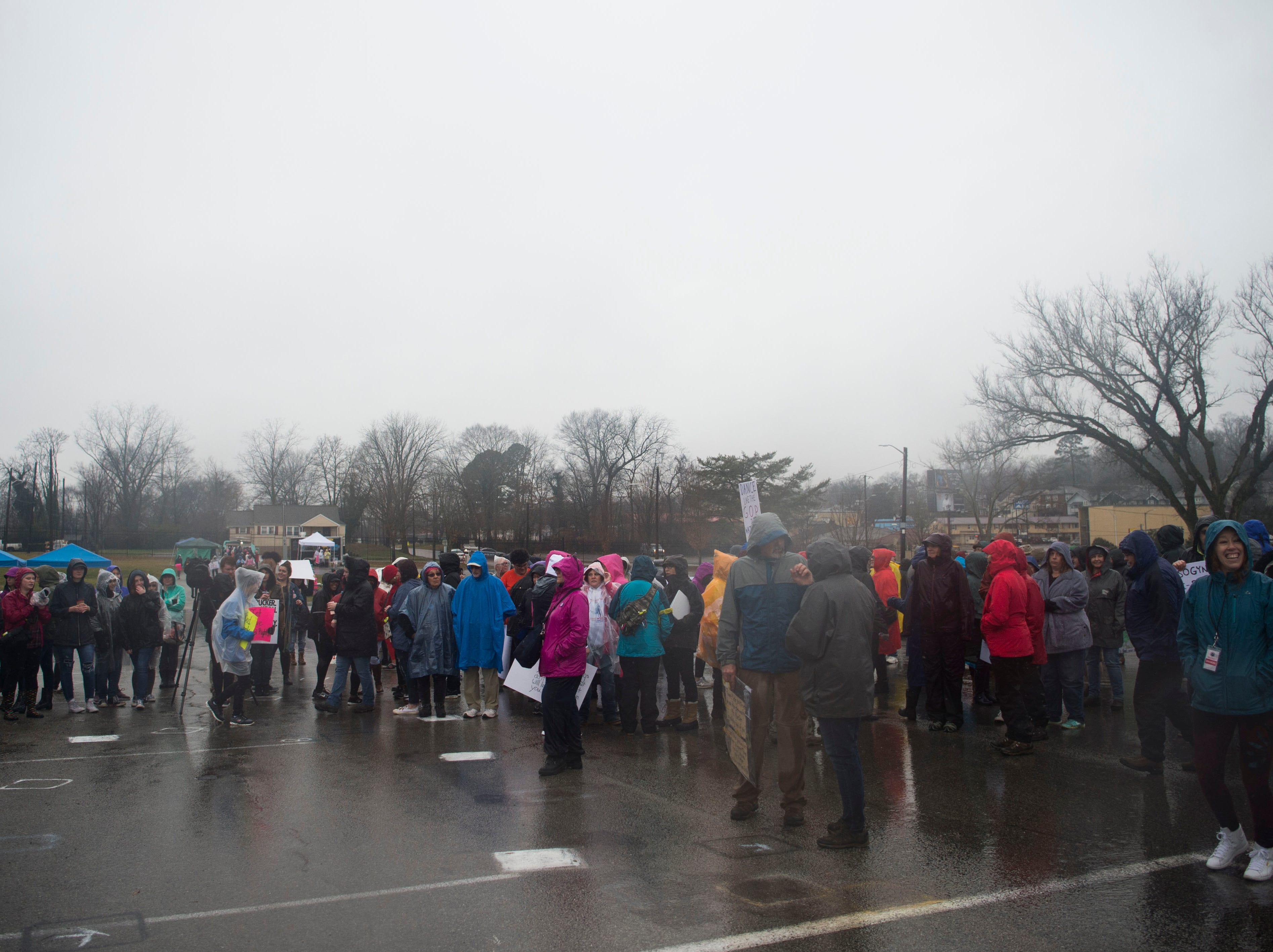 Attendees gather to listen to speeches during the 2019 Women's March in Chilhowee Park Saturday, Jan. 19, 2019.