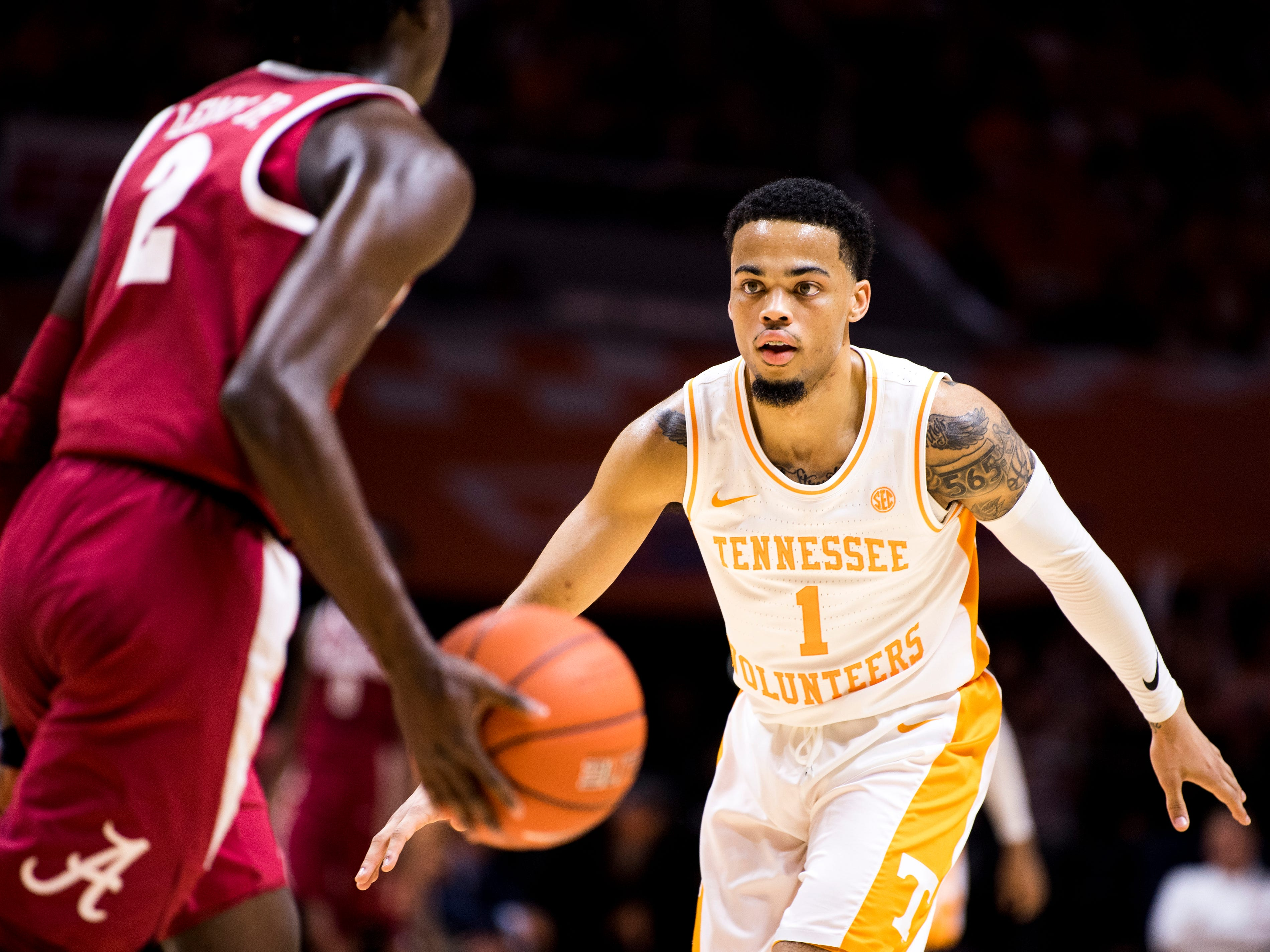Tennessee guard Lamonte Turner (1) during the second half of Tennessee's home SEC conference game against Alabama at Thompson-Boling Arena in Knoxville on Saturday, January 19, 2019.