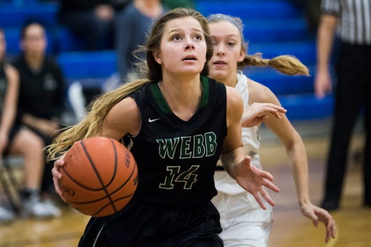 Webb's Casey Collier (14) looks to shoot during a high school basketball game between Webb and Grace at Grace Christian Academy Friday, Jan. 18, 2019.