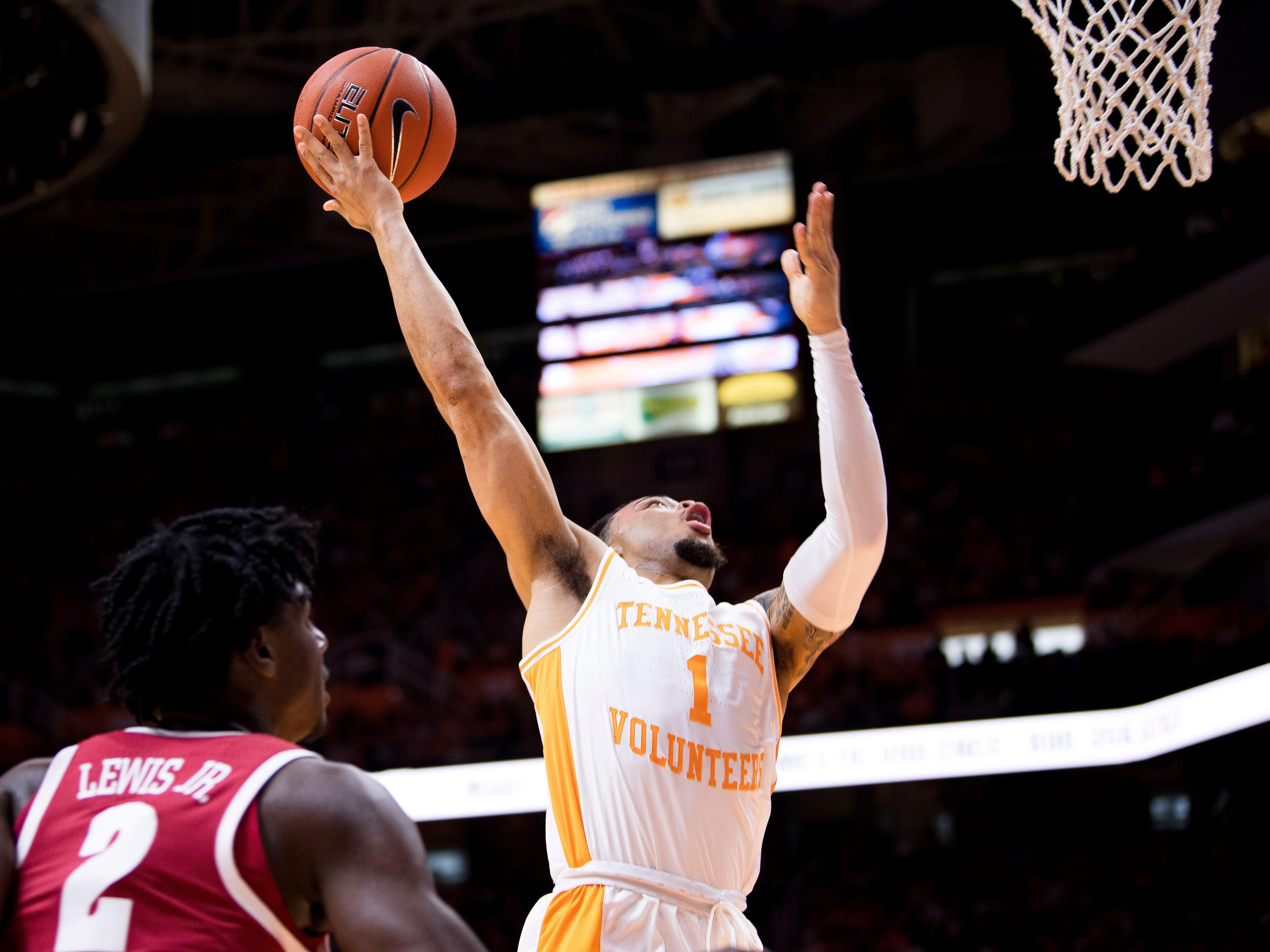 Tennessee guard Lamonte Turner (1) attempts a shot during the first half of Tennessee's home SEC conference game against Alabama at Thompson-Boling Arena in Knoxville on Saturday, January 19, 2019.