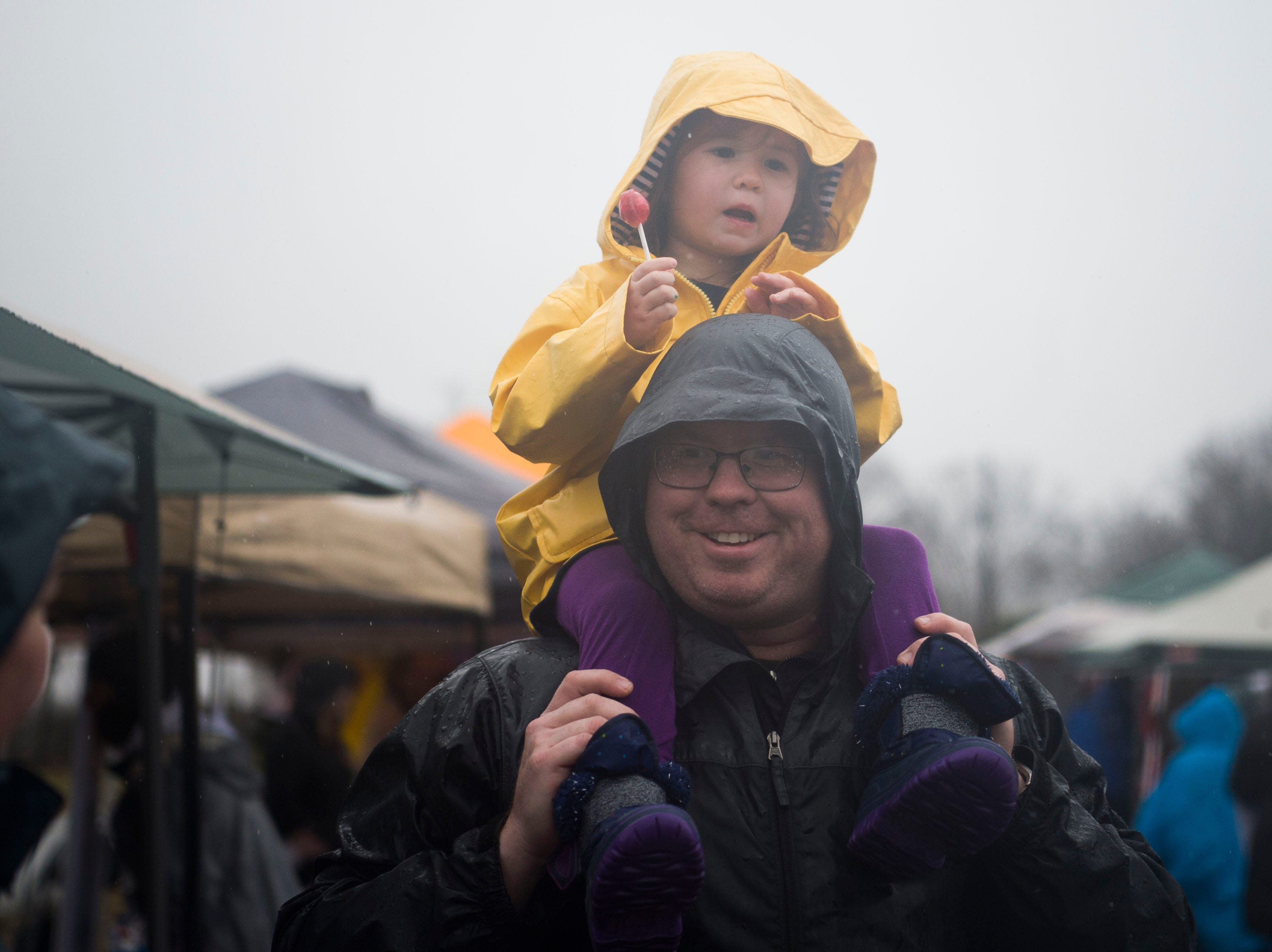 Eric Connor holds his daughter Meredith, 3, on his shoulders during the 2019 Women's March in Chilhowee Park Saturday, Jan. 19, 2019.