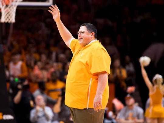 New Tennessee football offensive coordinator Jim Chaney is introduced during the first half of Tennessee's home SEC conference game against Alabama at Thompson-Boling Arena in Knoxville on Saturday, January 19, 2019.