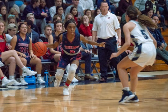 TCH's Serenity Lavergne drives the ball to the goal as the St. Thomas More Cougars take on the Teurlings Catholic Rebels on January 18, 2019.