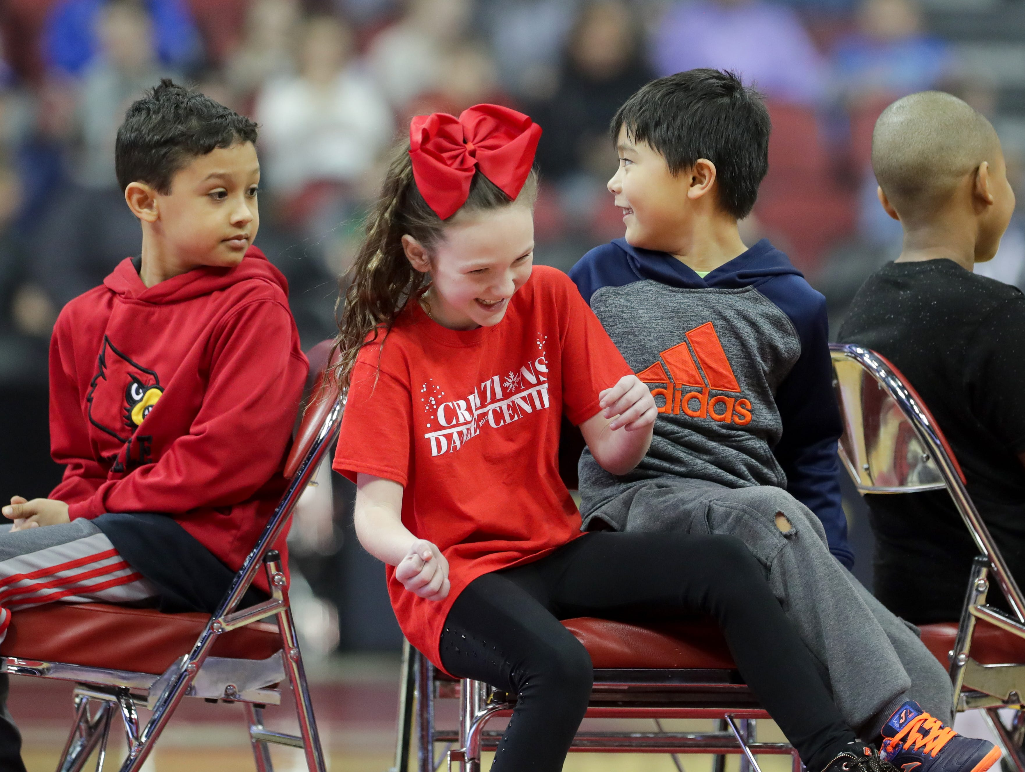 Kids play musical chairs before the Harlem Globetrotters game began. Jan. 19, 2019