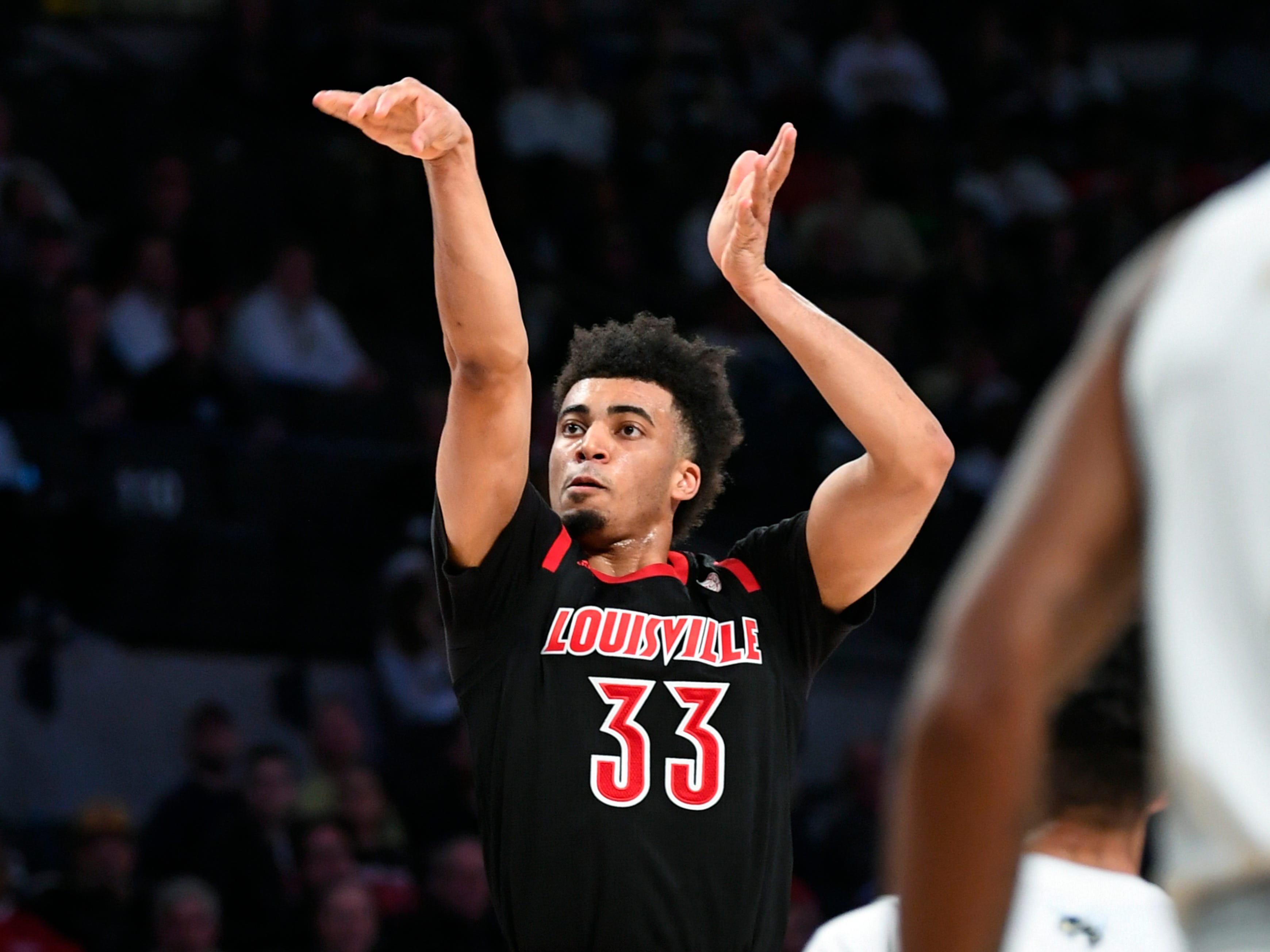 Louisville forward Jordan Nwora shoots against Georgia Tech during the first half of an NCAA college basketball game Saturday, Jan. 19, 2019, in Atlanta.