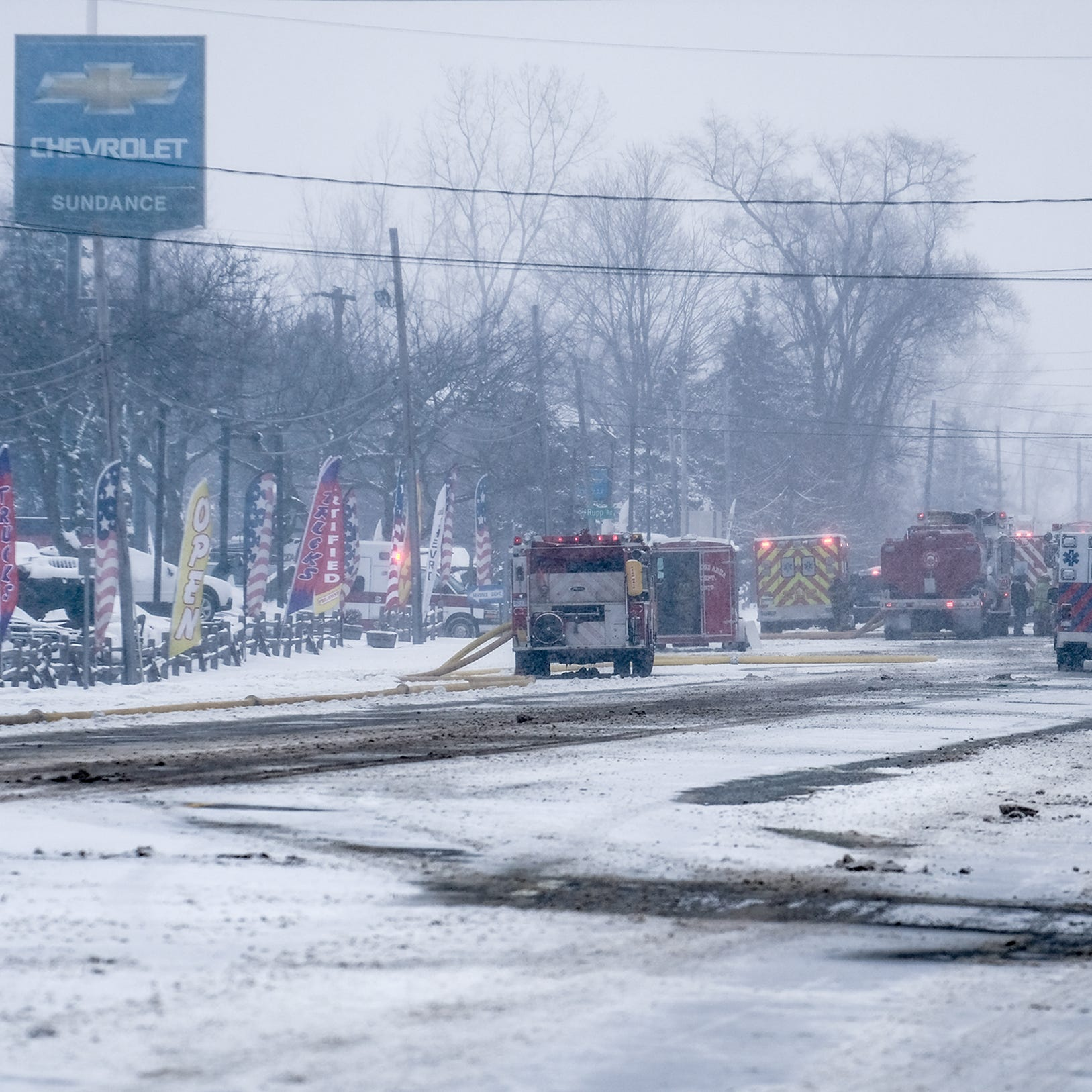 Saginaw closed as fire fighters battle blaze at Sundance Chevrolet body shop