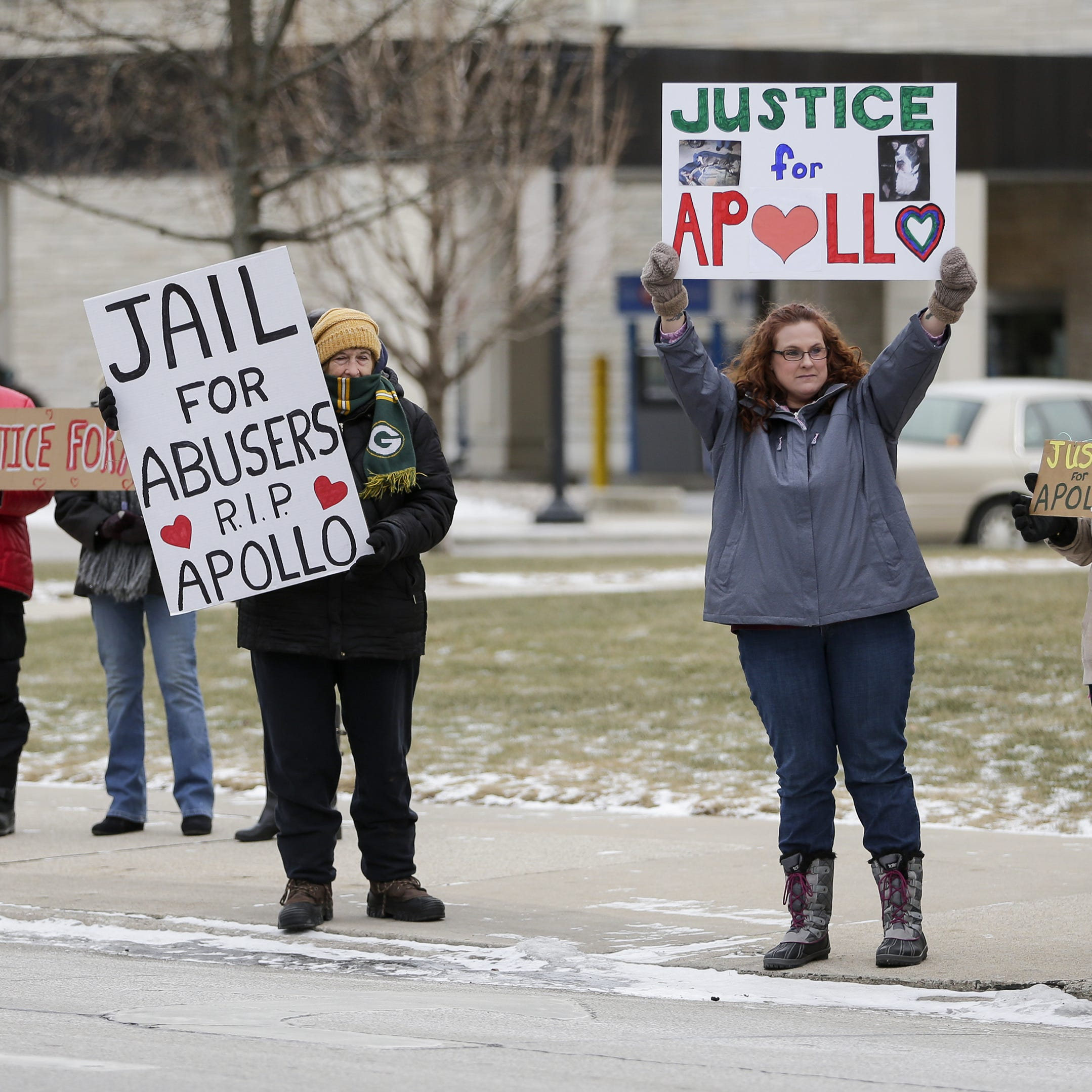 Protesters outside Manitowoc Courthouse advocate harsher punishment for animal abusers