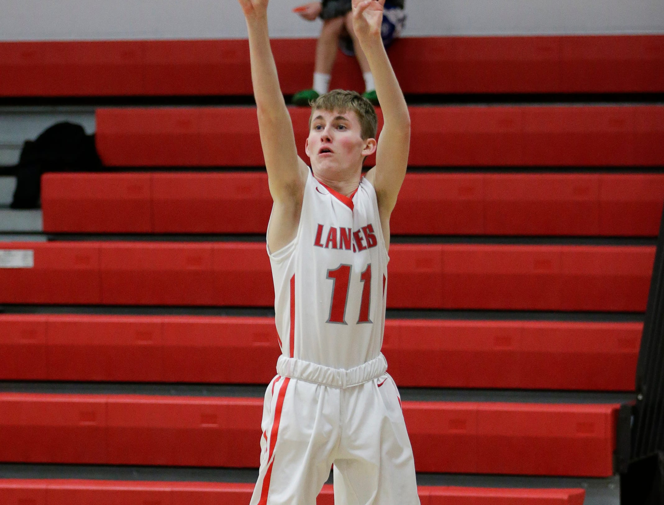 Manitowoc Lutheran's Jacob Schultz sinks a three against Kohler at Manitowoc Lutheran High School Friday, January 18, 2019, in Manitowoc, Wis. Joshua Clark/USA TODAY NETWORK-Wisconsin