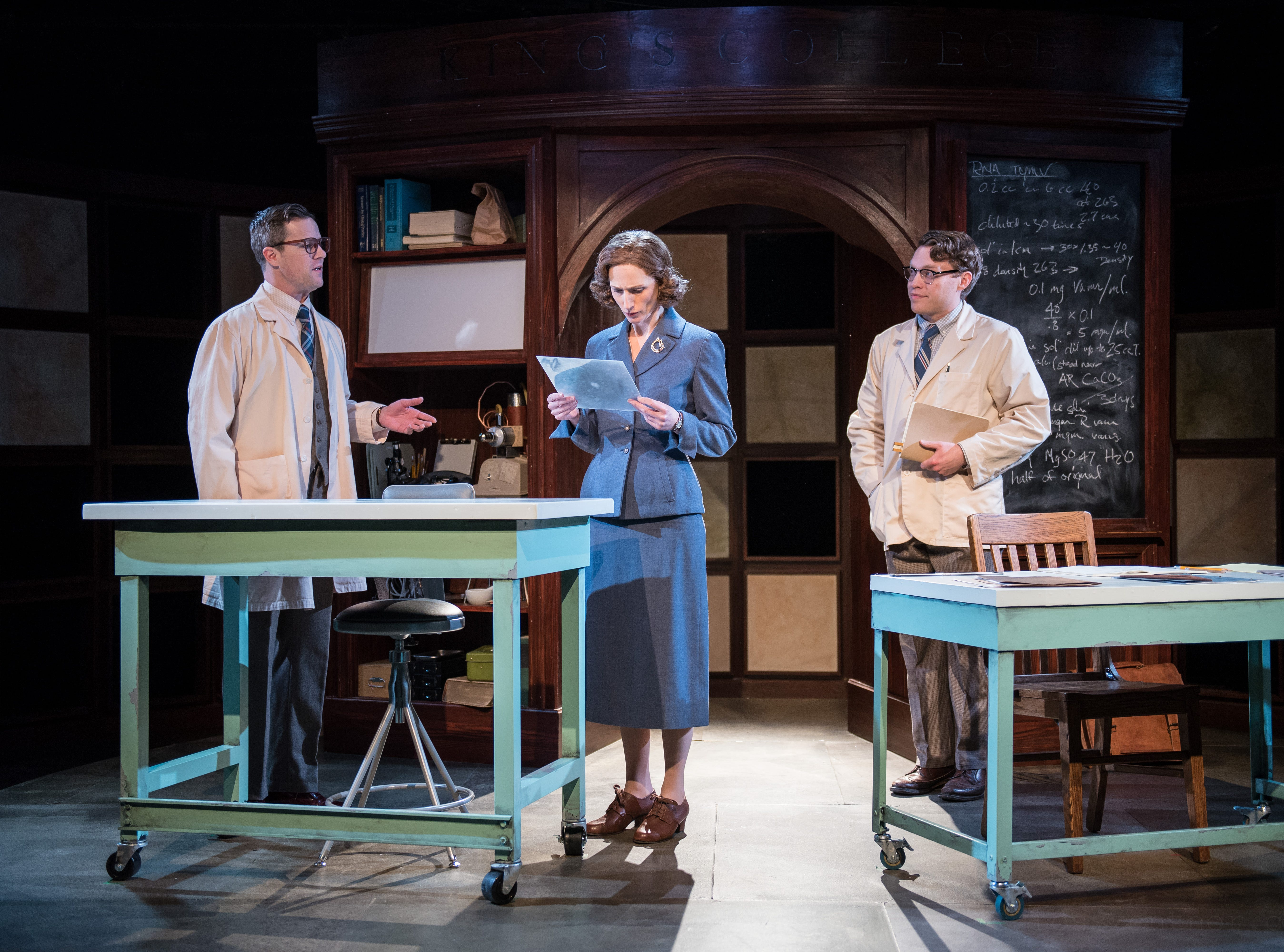 """Neil Brookshirel (left), Cassandra Bissell and Josh Krause portray DNA pioneers in Renaissance Theaterworks' production of """"Photograph 51."""""""