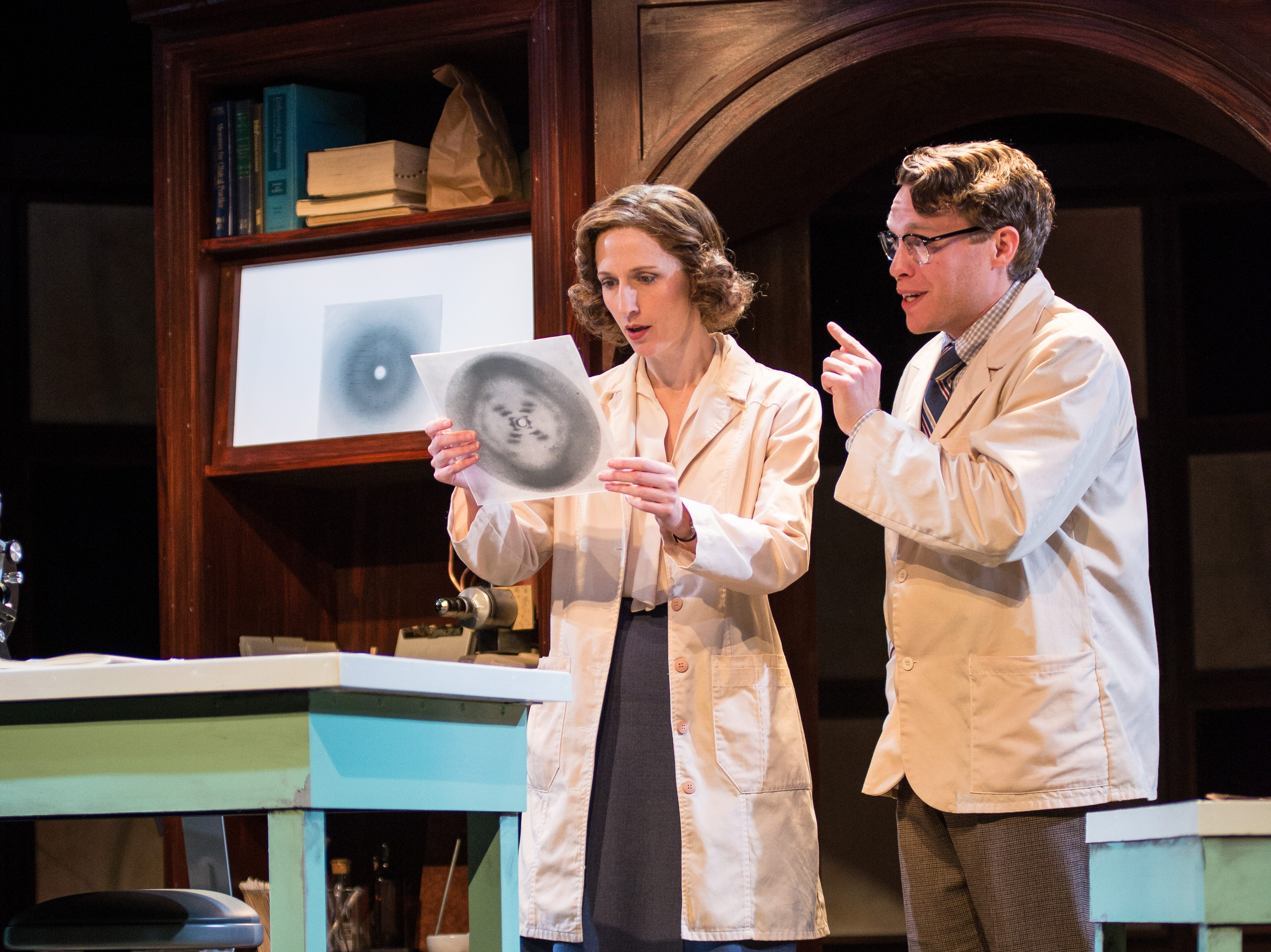 """Cassandra Bissell and Josh Krause make a dramatic discovery in Renaissance Theaterworks' production of """"Photograph 51."""""""