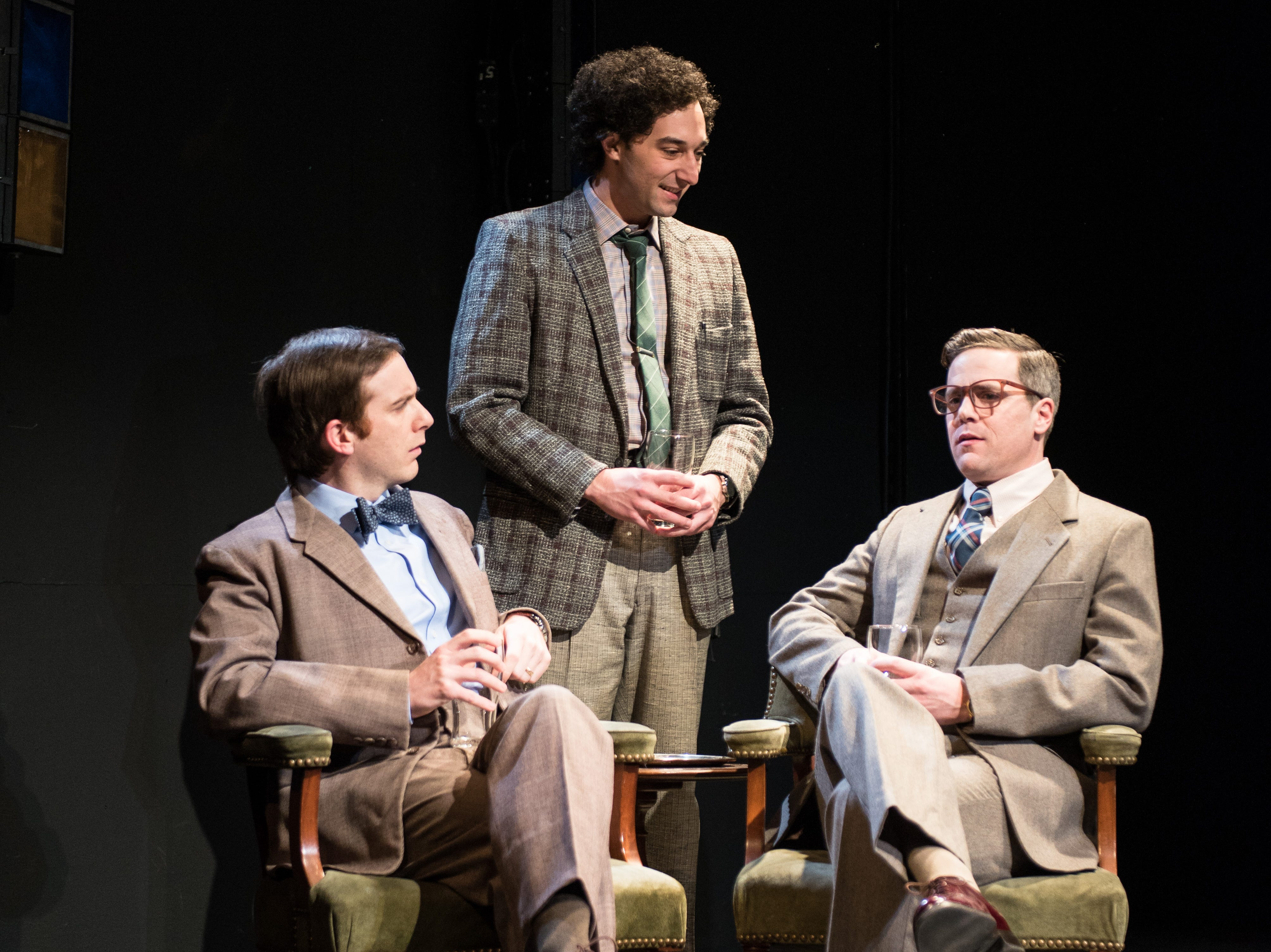 """Trevor Rees (left), Nick Narcisi and Neil Brookshire portray ambitious young scientists in Renaissance Theaterworks' production of """"Photograph 51."""""""