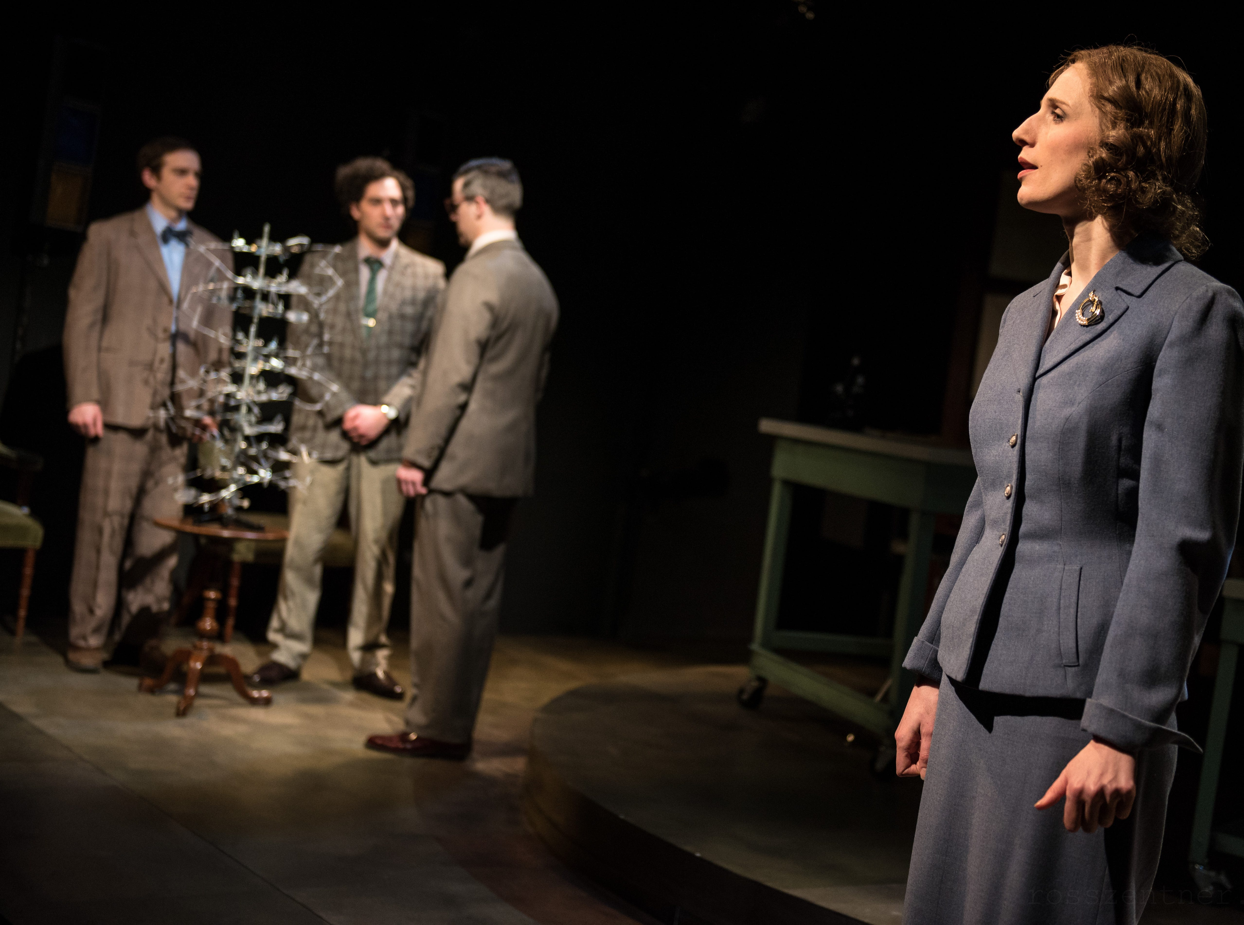 """Trevor Rees, Nick Narcisi, Neil Brookshire and Cassandra Bissell portray DNA pioneers in Renaissance Theaterworks' production of """"Photograph 51."""""""