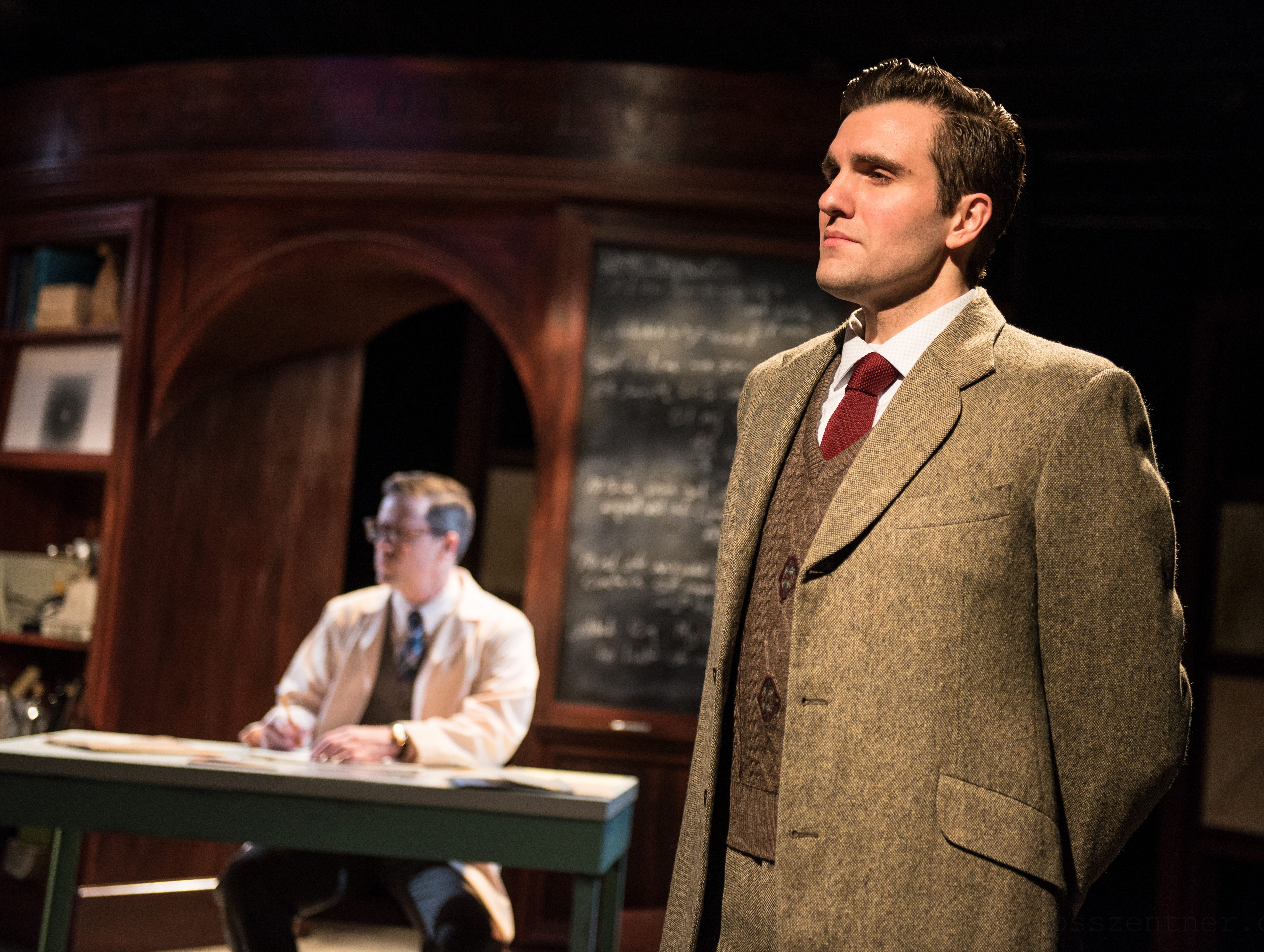 """Joe Picchetti (left) and Neil Brookshire portray ambitious scientists in Renaissance Theaterworks' production of """"Photograph 51."""""""