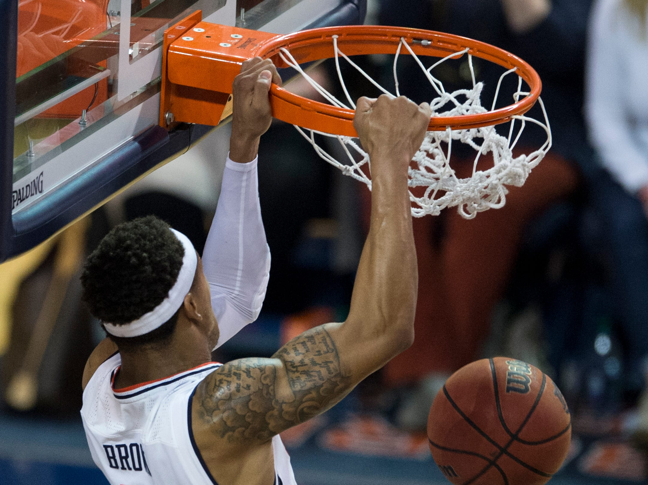 Auburn guard Bryce Brown (2) dunks the ball against Kentucky at Auburn Arena in Auburn, Ala., on Saturday, Jan. 19, 2019. Kentucky defeats Auburn 82-80.