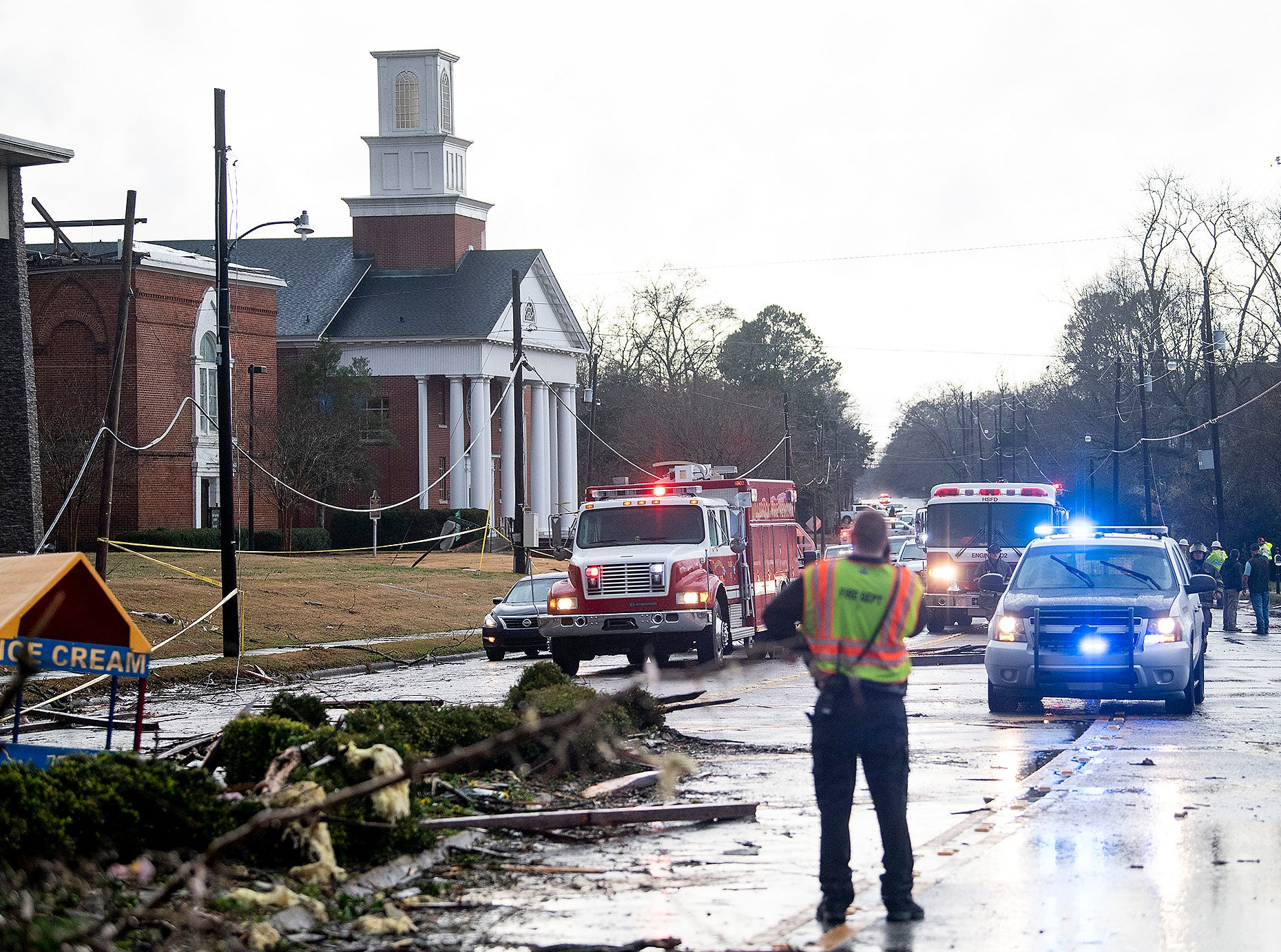 First Baptist Church damage from a tornado touchdown in Wetumpka, Ala., on Saturday afternoon January 19, 2019.