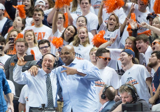 ESPN's Dick Vitale and former Auburn basketball player Charles Barkley at Auburn Arena in Auburn, Ala., on Saturday, Jan. 19, 2019. Kentucky leads Auburn 35-27 at halftime.