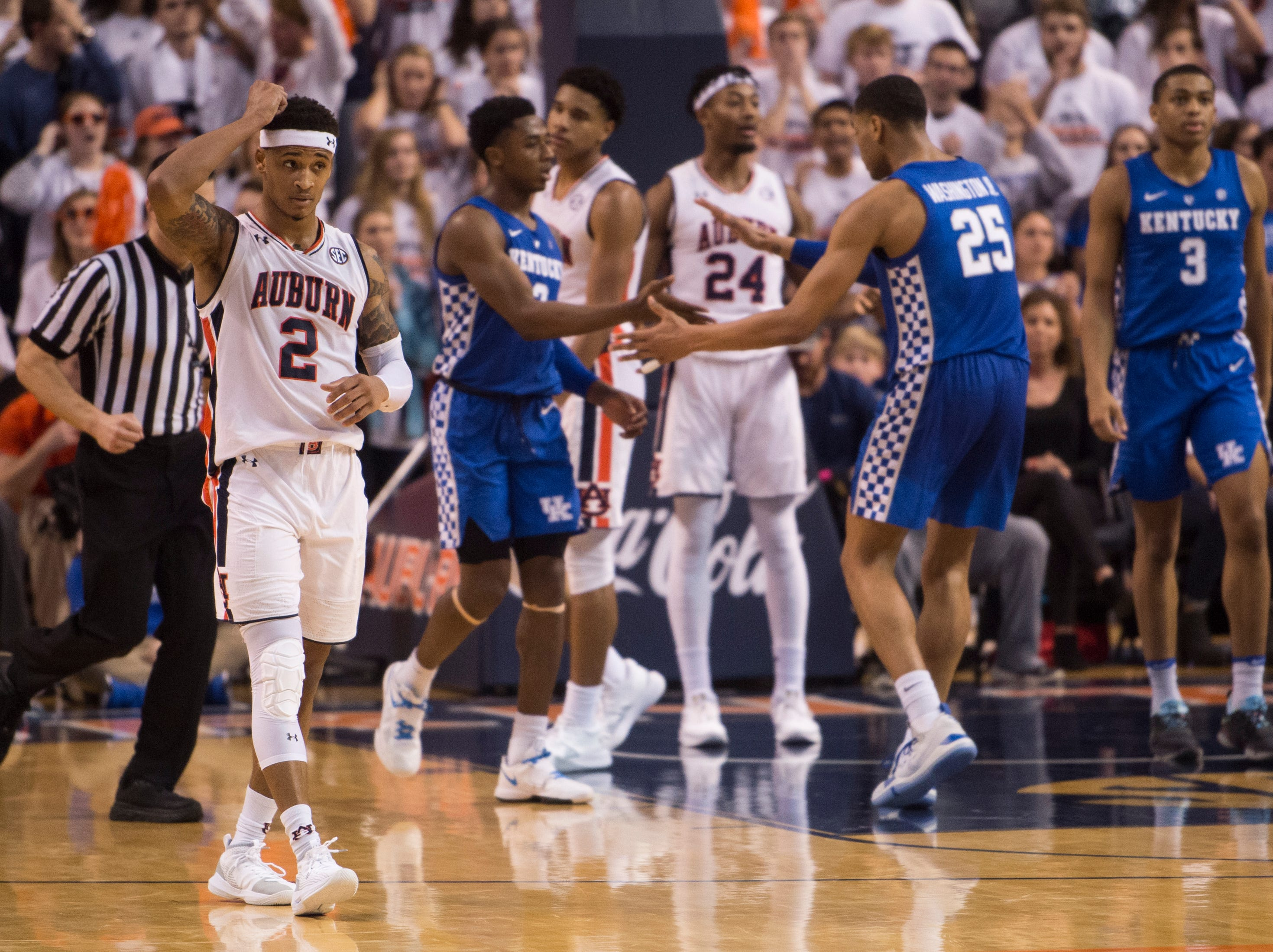 Auburn guard Bryce Brown (2) reacts to a foul call at Auburn Arena in Auburn, Ala., on Saturday, Jan. 19, 2019. Kentucky defeats Auburn 82-80.