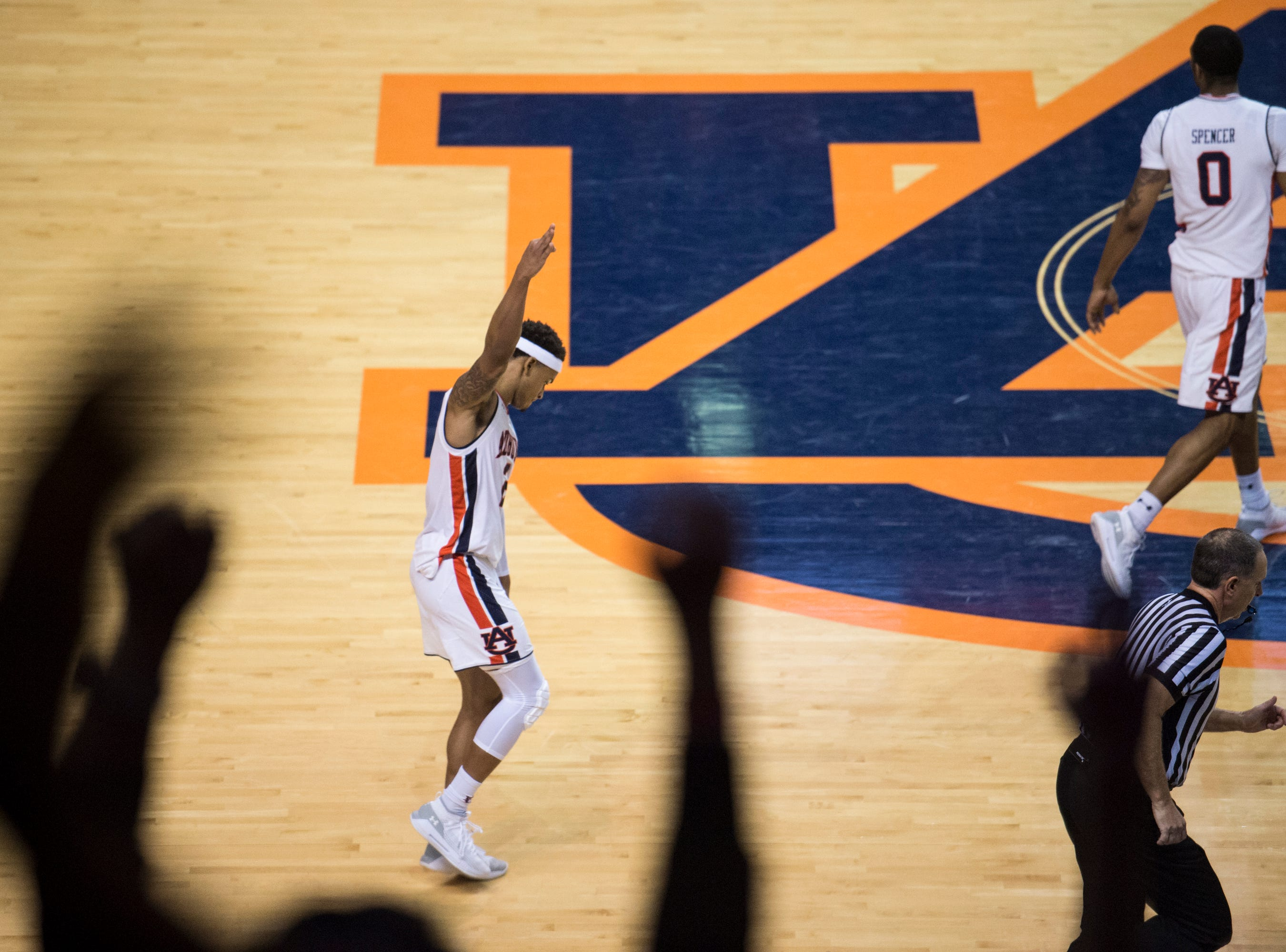 Auburn guard Bryce Brown (2) celebrates a late game three pointer at Auburn Arena in Auburn, Ala., on Saturday, Jan. 19, 2019. Kentucky defeats Auburn 82-80.