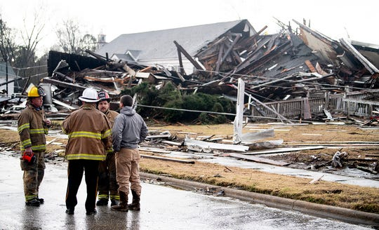 What is left of a Presbyterian church is seen in the damage from a tornado touchdown in Wetumpka, Ala., on Saturday afternoon January 19, 2019.