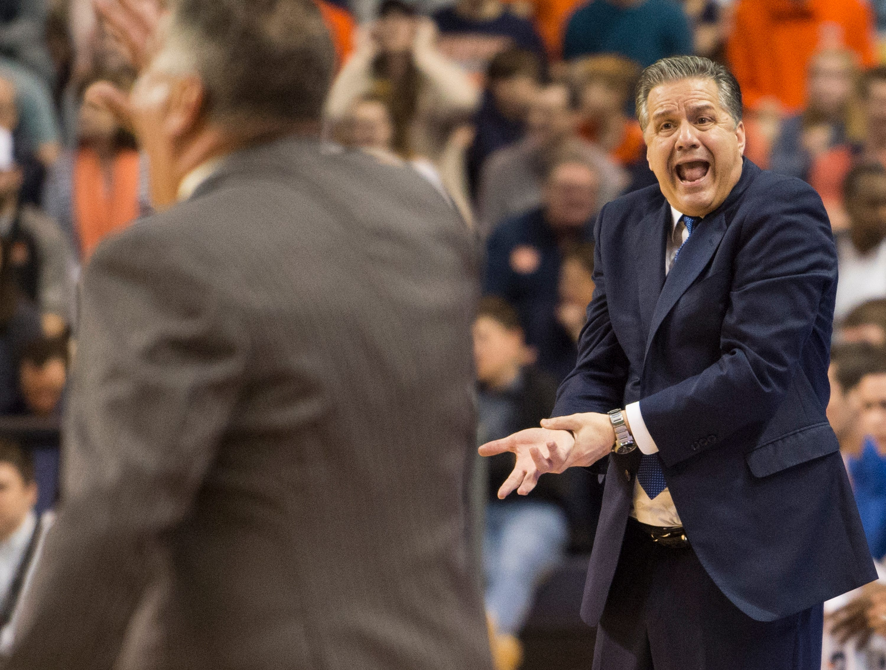 Kentucky head coach John Calipari complains about a call at Auburn Arena in Auburn, Ala., on Saturday, Jan. 19, 2019. Kentucky leads Auburn 35-27 at halftime.