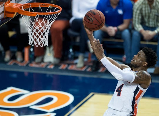Auburn guard Malik Dunbar (4) makes a fast break layup at Auburn Arena in Auburn, Ala., on Saturday, Jan. 19, 2019. Kentucky defeats Auburn 82-80.