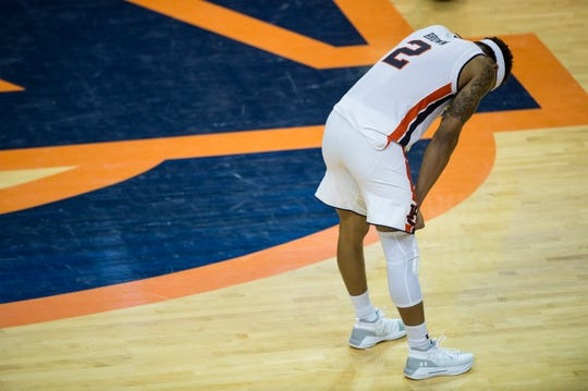 Auburn guard Bryce Brown (2) takes a rest late in the second half at Auburn Arena in Auburn, Ala., on Saturday, Jan. 19, 2019. Kentucky defeats Auburn 82-80.
