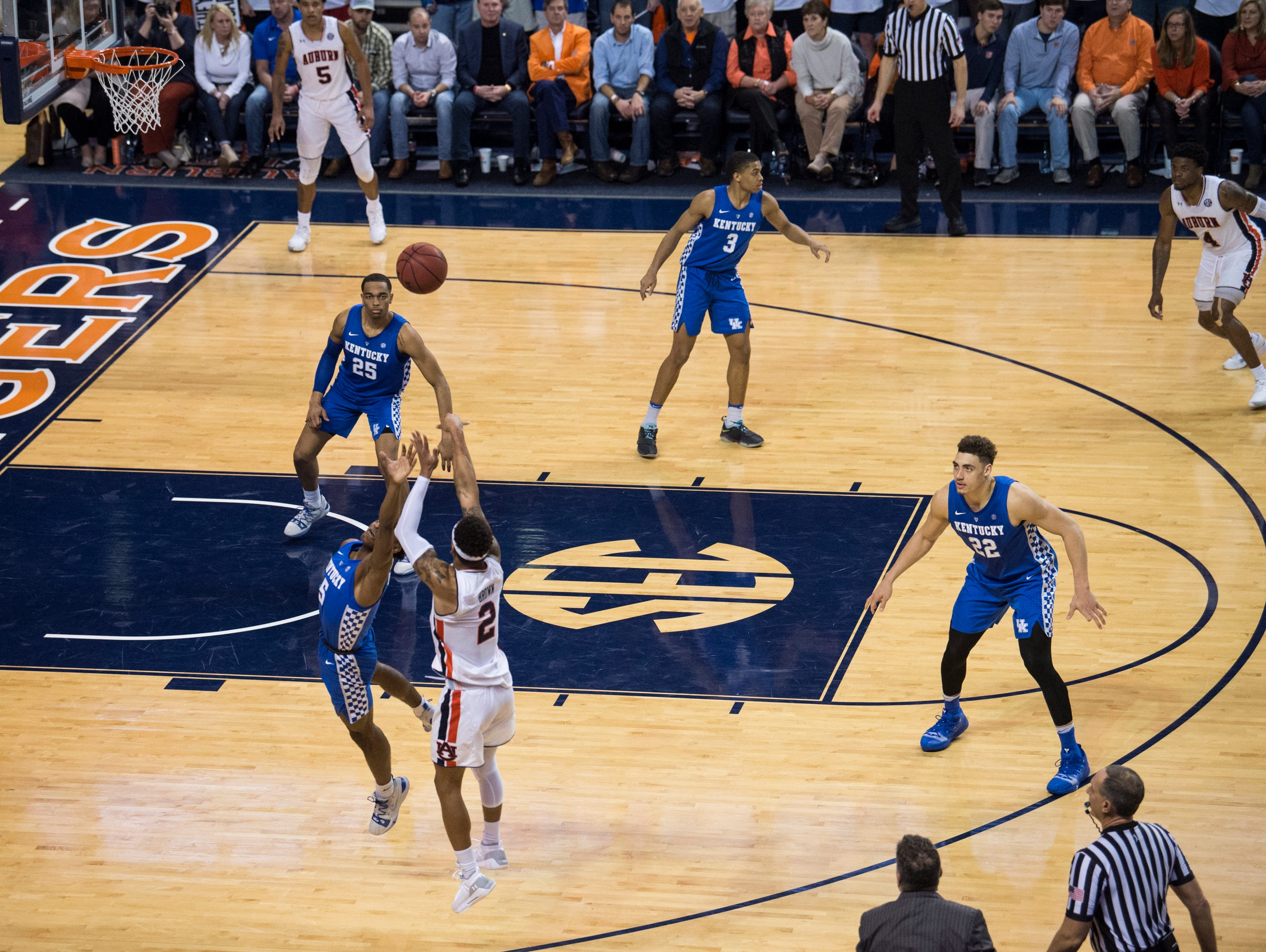 Auburn guard Bryce Brown (2) makes a late game three pointer at Auburn Arena in Auburn, Ala., on Saturday, Jan. 19, 2019. Kentucky defeats Auburn 82-80.