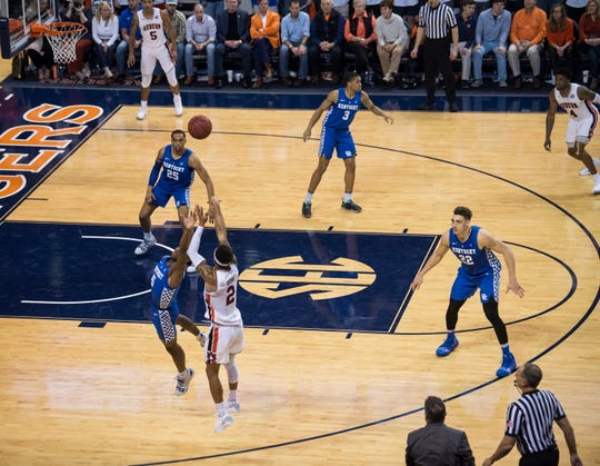 Auburn guard Bryce Brown (2) makes a late game three pointer at Auburn Arena in Auburn, Ala., on Saturday, Jan. 19, 2019. Kentucky defeats Auburn 82-80.
