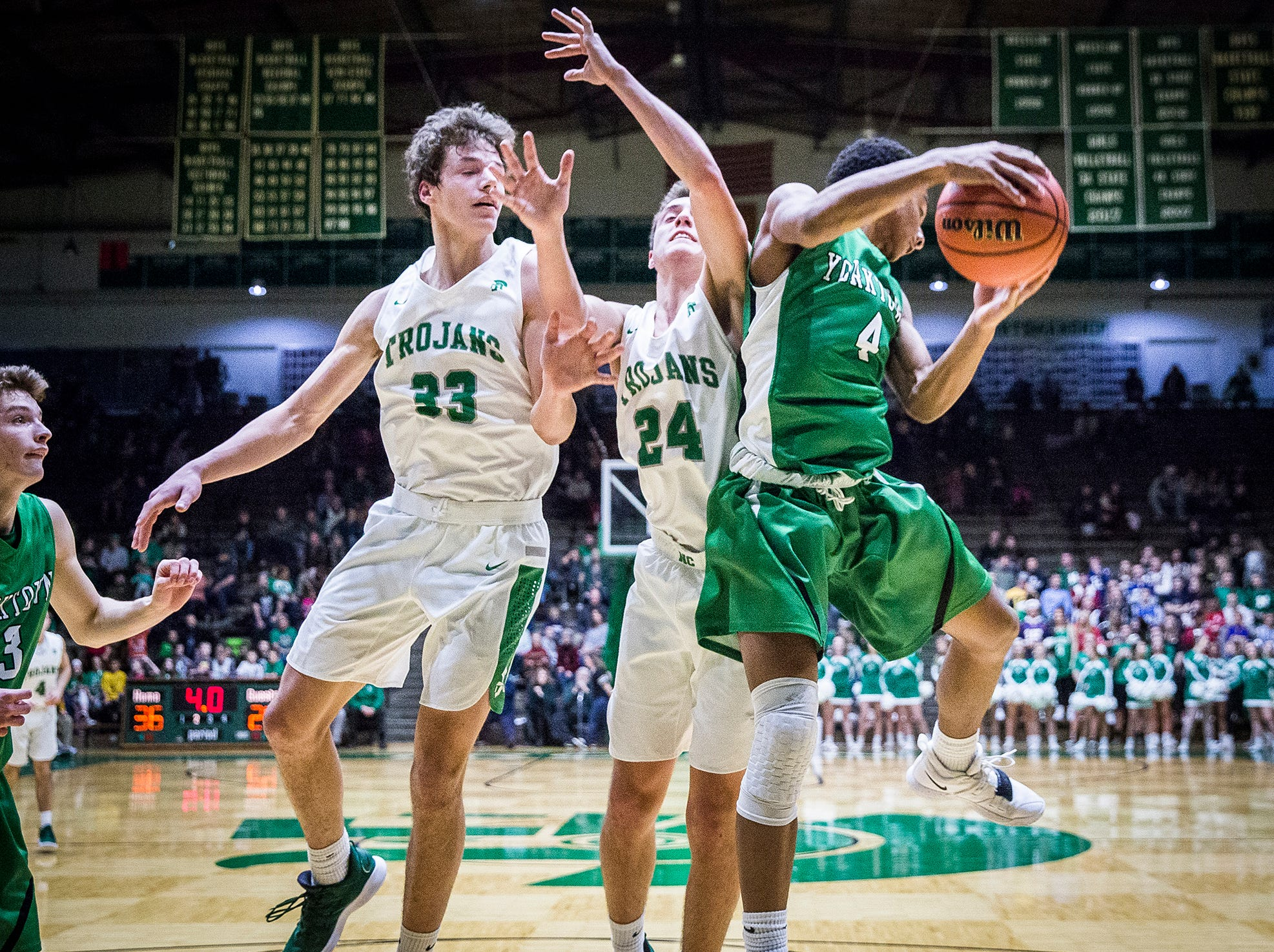 New Castle faces off against Yorktown during their game at New Castle High School Friday, Jan. 18, 2019.
