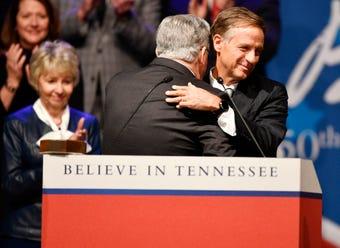 Bill Haslam spoke at the inauguration of Bill Lee on Jan 19, 2019.