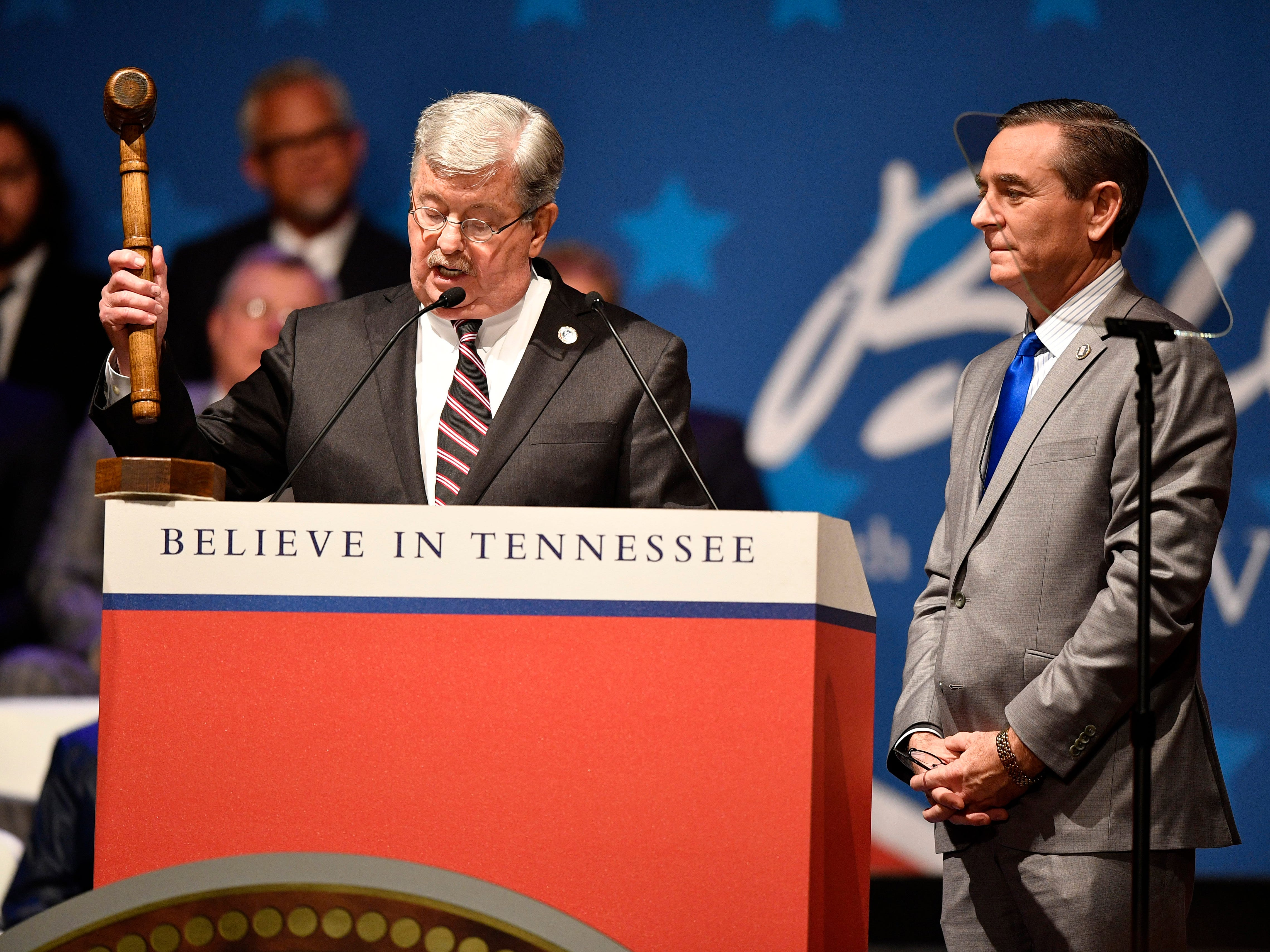 Lt. Gov. Randy McNally bangs the gavel as House Speaker Glen Casada looks on at the start of the inauguration of Bill Lee as the 50th governor of Tennessee at War Memorial Auditorium in Nashville, Tenn., Saturday, Jan. 19, 2019.