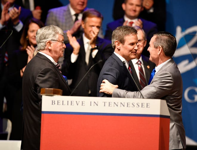 Bill Lee is greeted by Lt. Gov. Randy McNally and Speaker of the House Glen Casada at his inauguration as the 50th governor of Tennessee at War Memorial Auditorium in Nashville, Tenn., Saturday, Jan. 19, 2019.