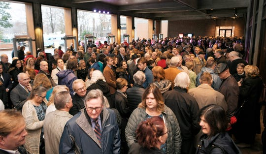 People wait for the doors to open at the worship service for the inauguration of Bill Lee at Grand Ole Opry House in Nashville on Saturday, Jan. 19, 2019.