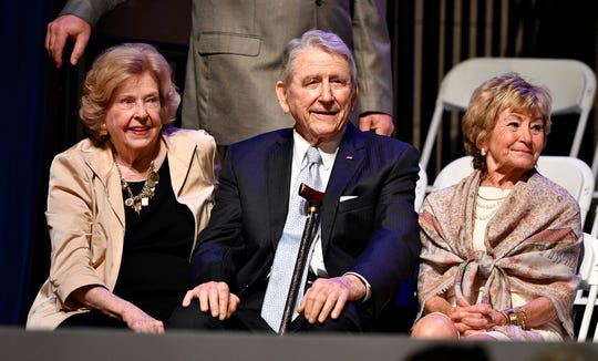Former Gov. Winfield Dunn and his wife, Betty, left, and Honey Alexander before the inauguration of Bill Lee as the 50th governor of Tennessee at War Memorial Auditorium in Nashville, Tenn., Saturday, Jan. 19, 2019.