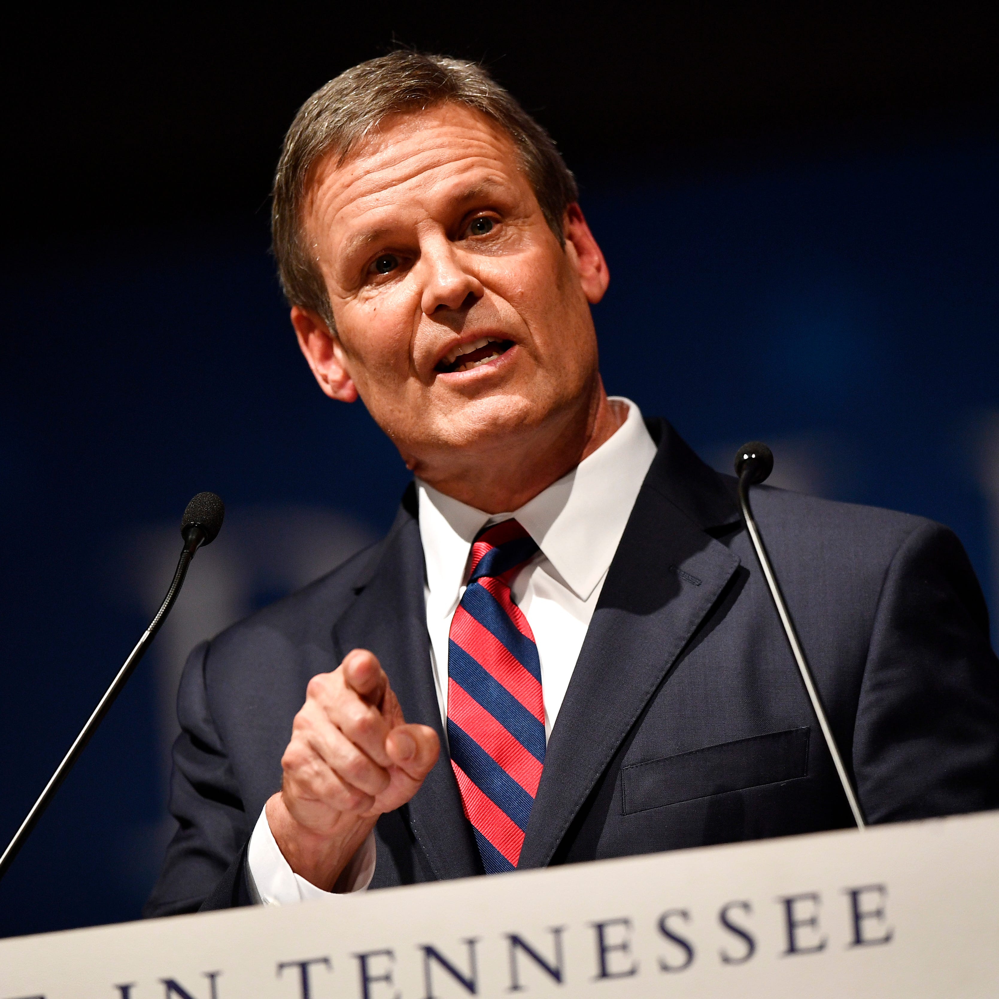Gov. Bill Lee speaks to the crowd during his inauguration as the 50th governor of Tennessee at War Memorial Auditorium in Nashville, Tenn., Saturday, Jan. 19, 2019.