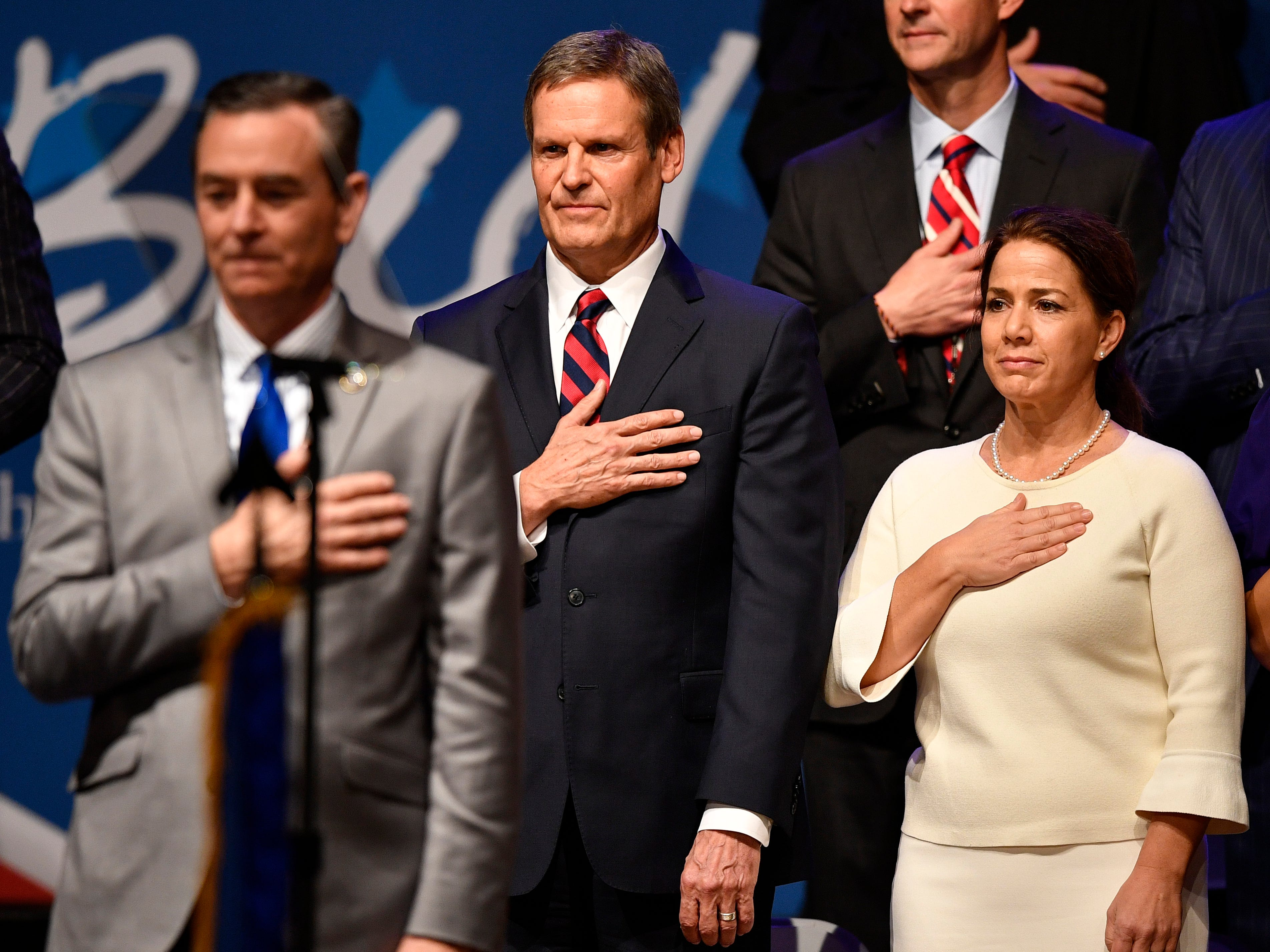 Bill Lee and wife Maria stand during his inauguration as the 50th governor of Tennessee at War Memorial Auditorium in Nashville, Tenn., Saturday, Jan. 19, 2019. Speaker of the House Glen Casada is front left.