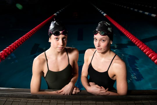 Harpeth Hall swimmers Gretchen Walsh, left, and Alex Walsh, right, at Centennial Sportsplex in Nashville, Tenn., Friday, Jan. 18, 2019.