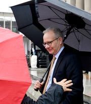 Police officers accompany Mayor David Briley for security at events, sometimes earning overtime pay. Here, Briley speaks to  a participant at the 2019 Women's Rally in January.